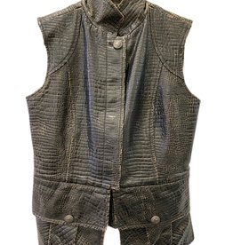 Wyld Blue Vintage Chanel Distressed Crocodile Vest With Pockets