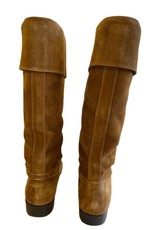 Wyld Blue Vintage Chanel Turnlock Suede Leather Riding Tall Boots (Sz 5-5.5)