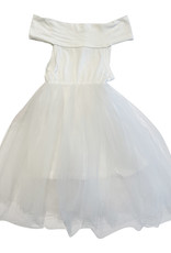 Wyld Blue Kids White Ribbed Tutu Dress