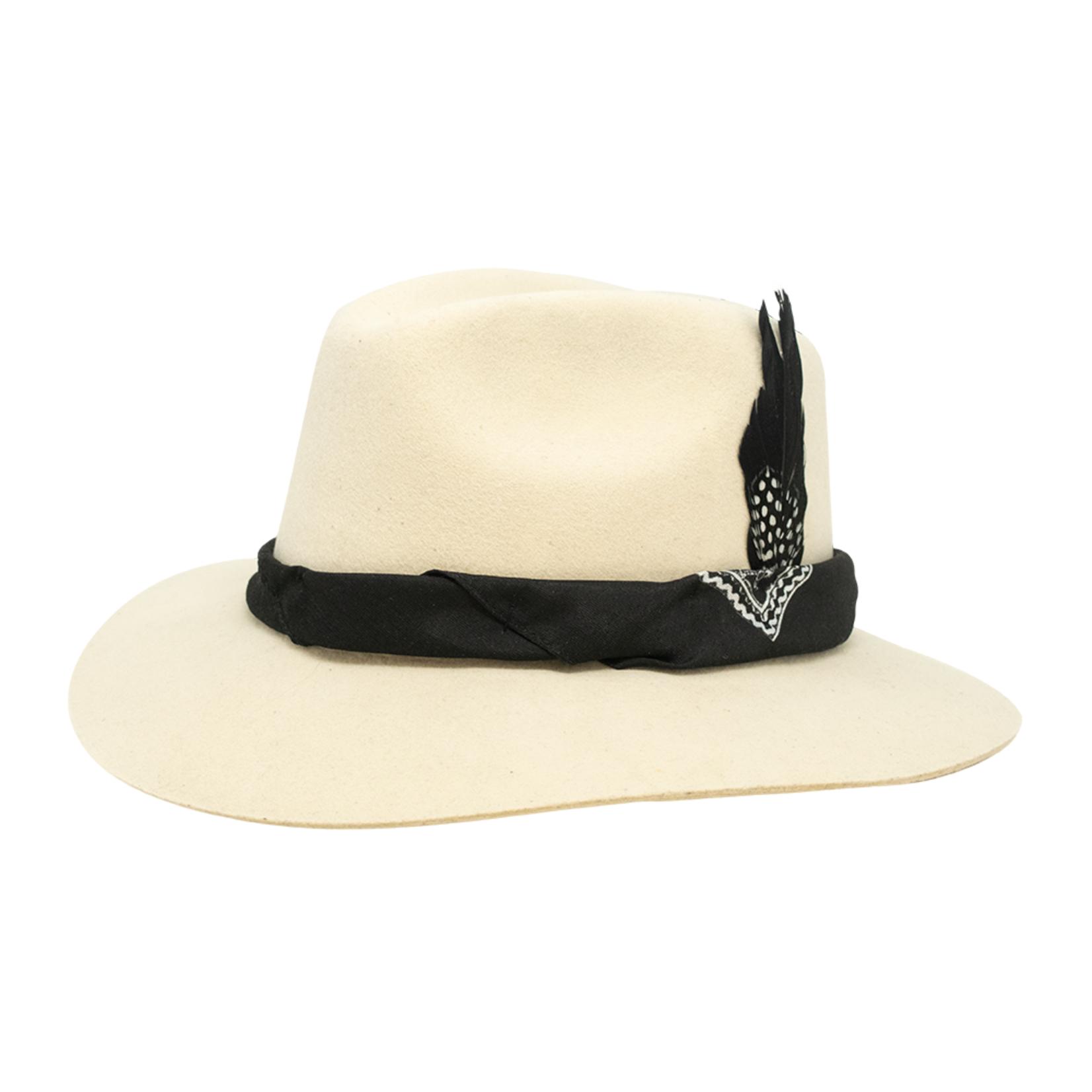 Tuluminati Nizuc Hat White Wool  with Black Bandana