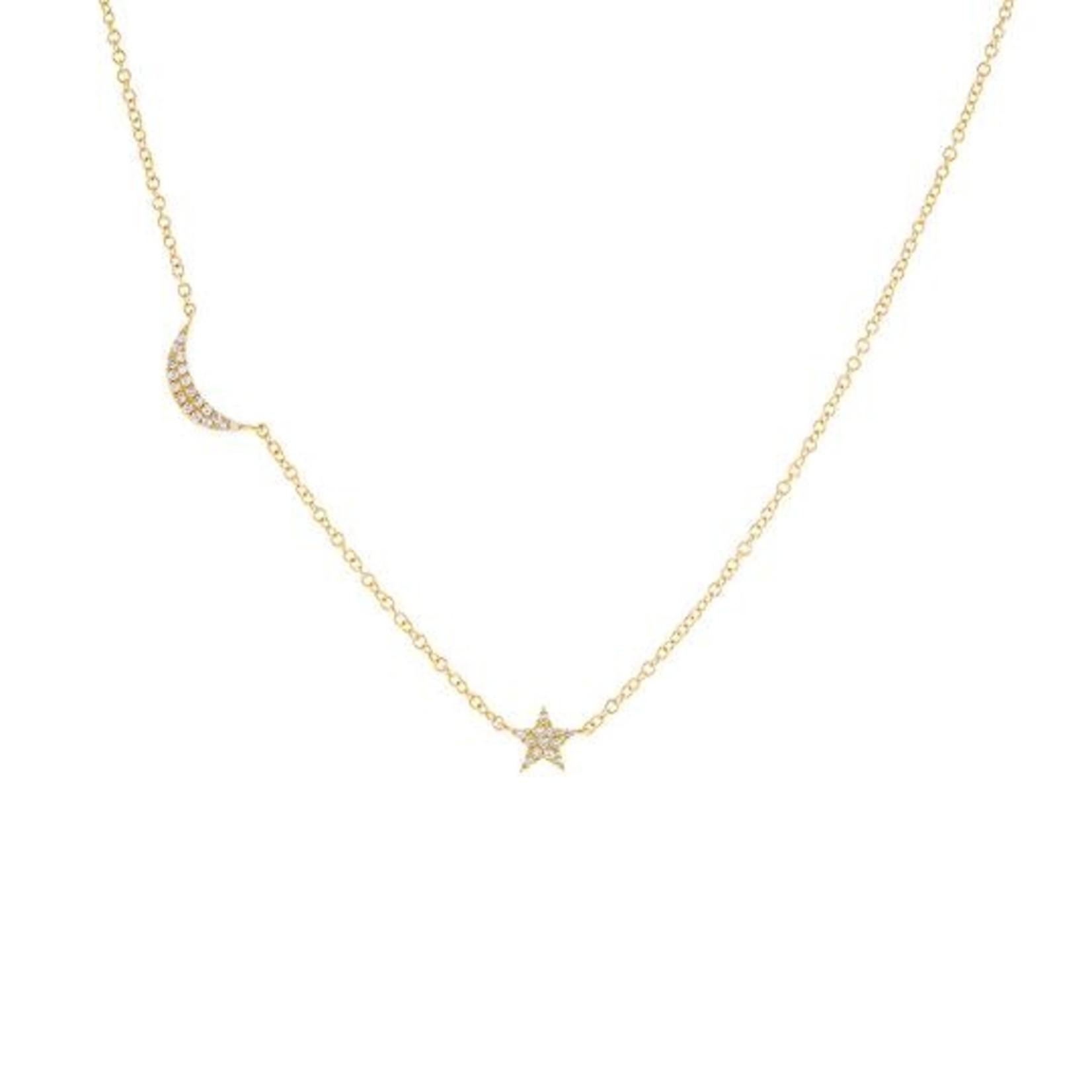 Adinas Diamond Crescent X Star 14k Necklace