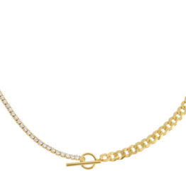 Adinas Tennis X Curb Chain Necklace