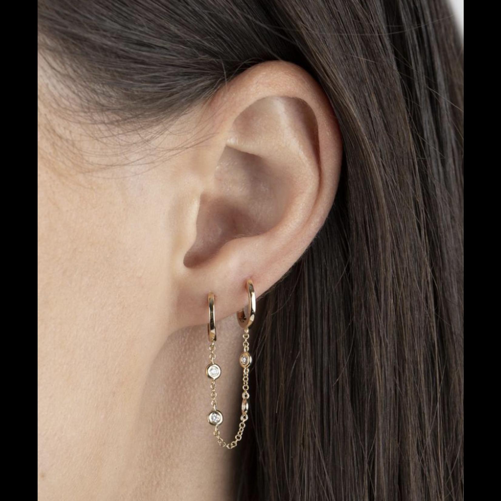 Adinas Diamond Bezel Double Huggie Earring 14K