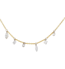 Adinas Floating Multi Shape Diamond Necklace 14K