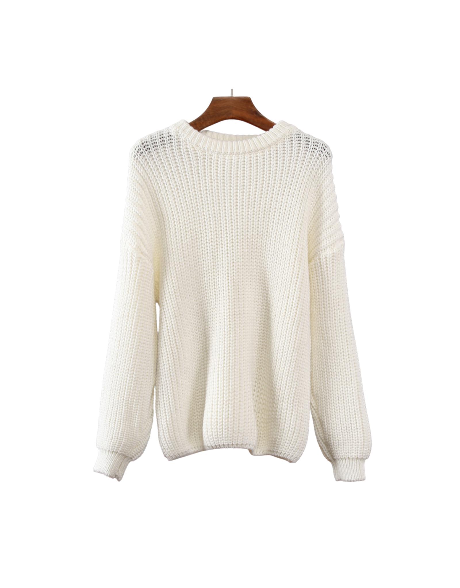 Wyld Blue Knit Sweater White