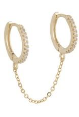 Adinas CZ Double Huggie Chain Earring