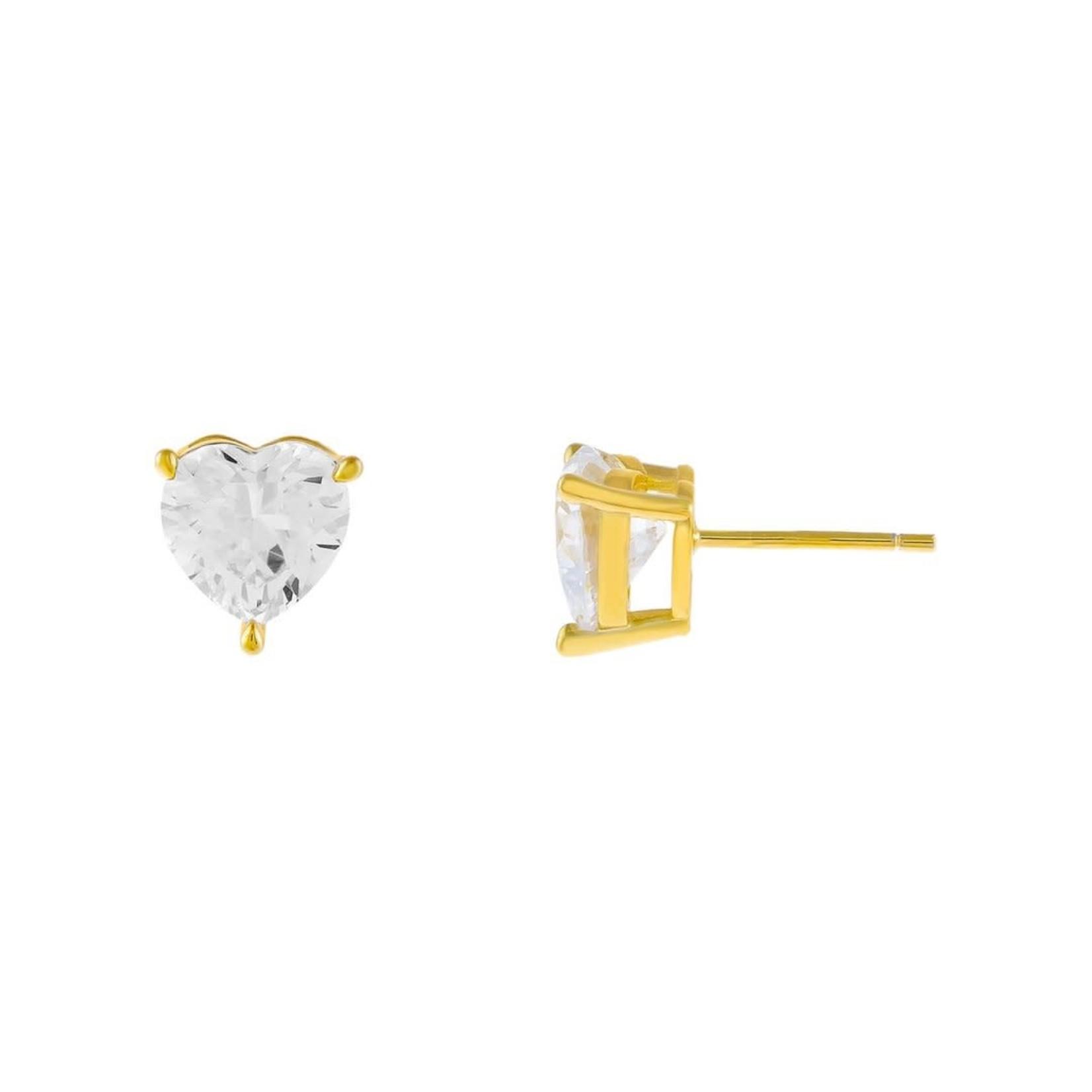 Adinas CZ Heart Stone Stud Earrings