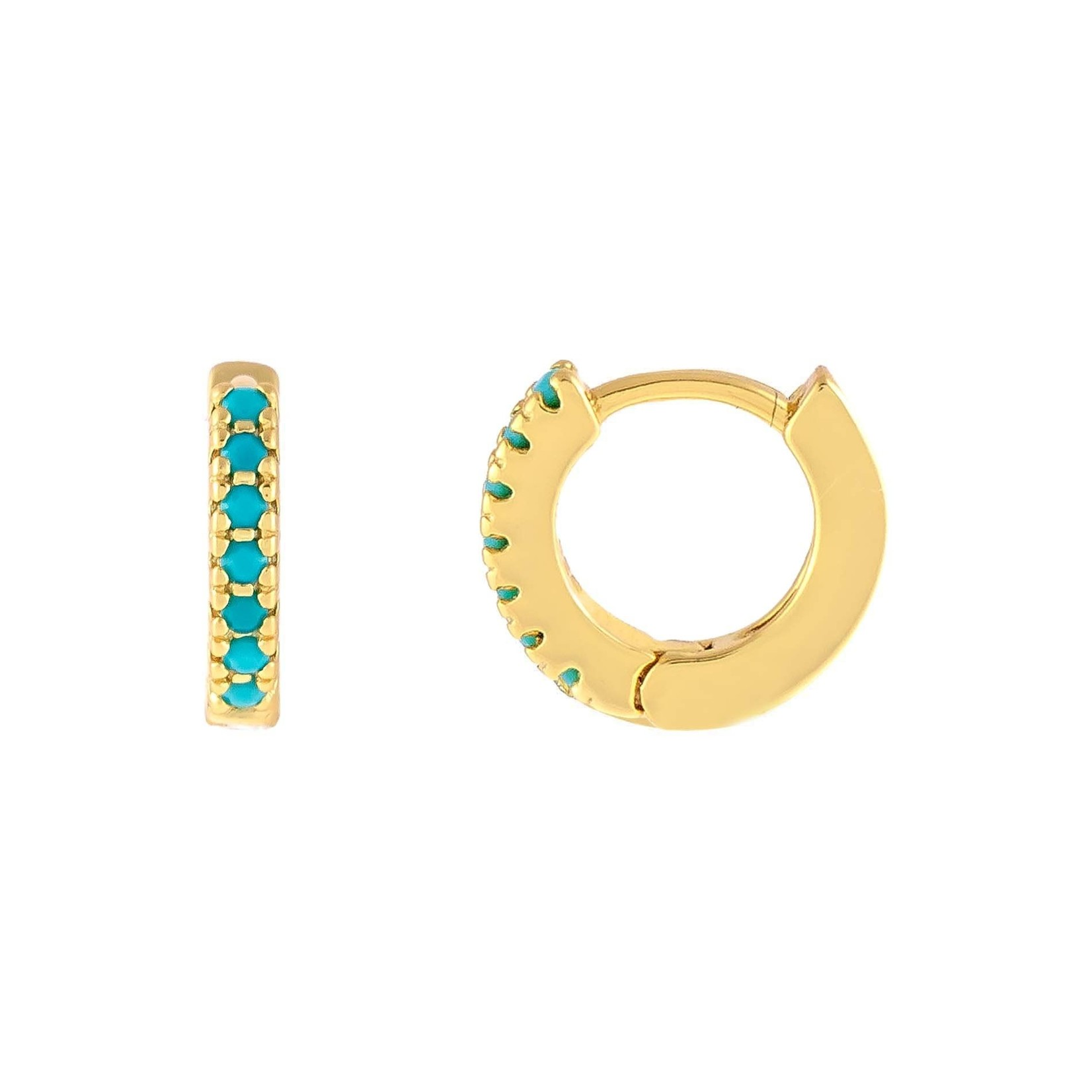 Adinas CZ Turqoise Huggie Earrings