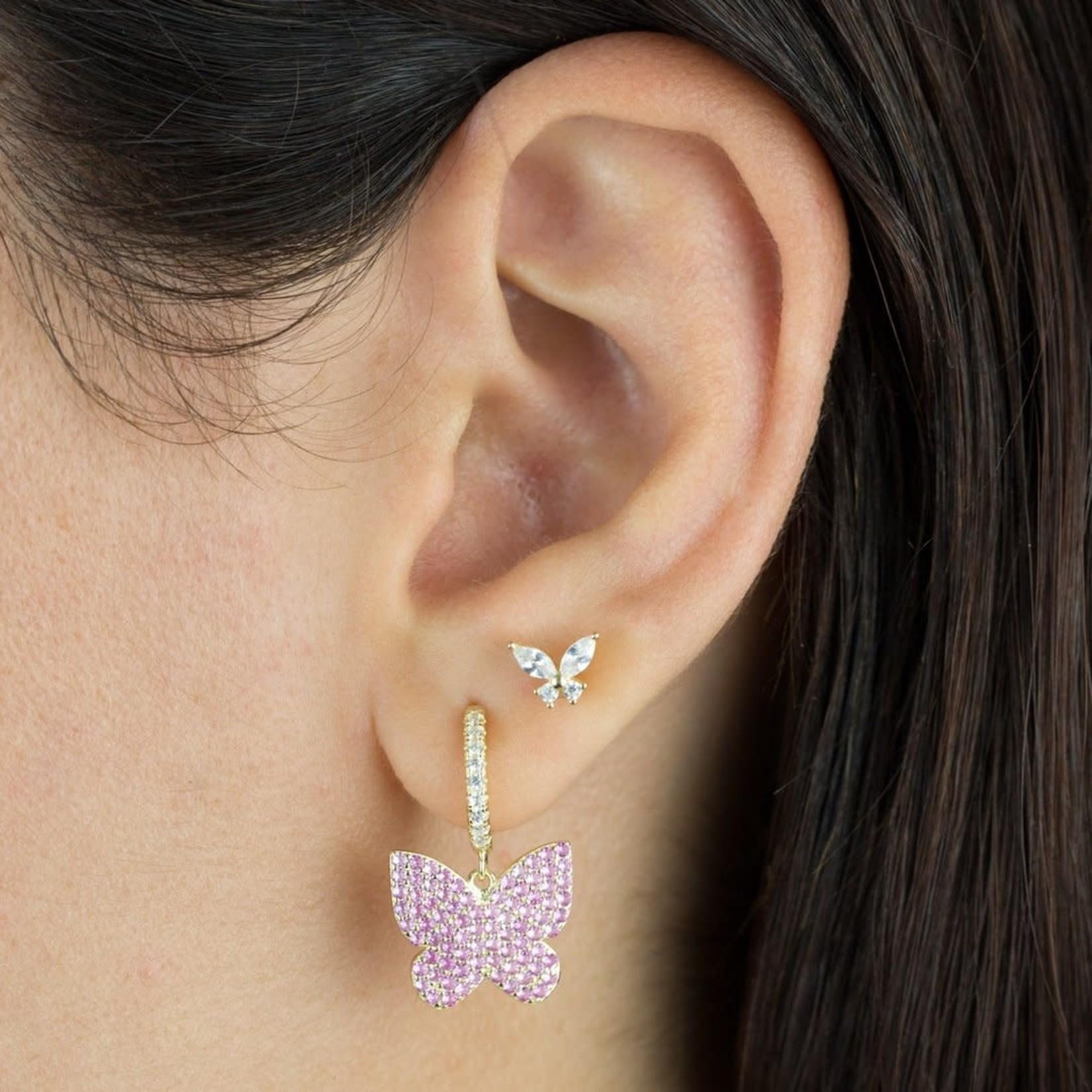 Adinas CZ Crystal Butterfly Stud Earrings