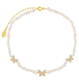 Adinas CZ Butterfly Pearl Anklet