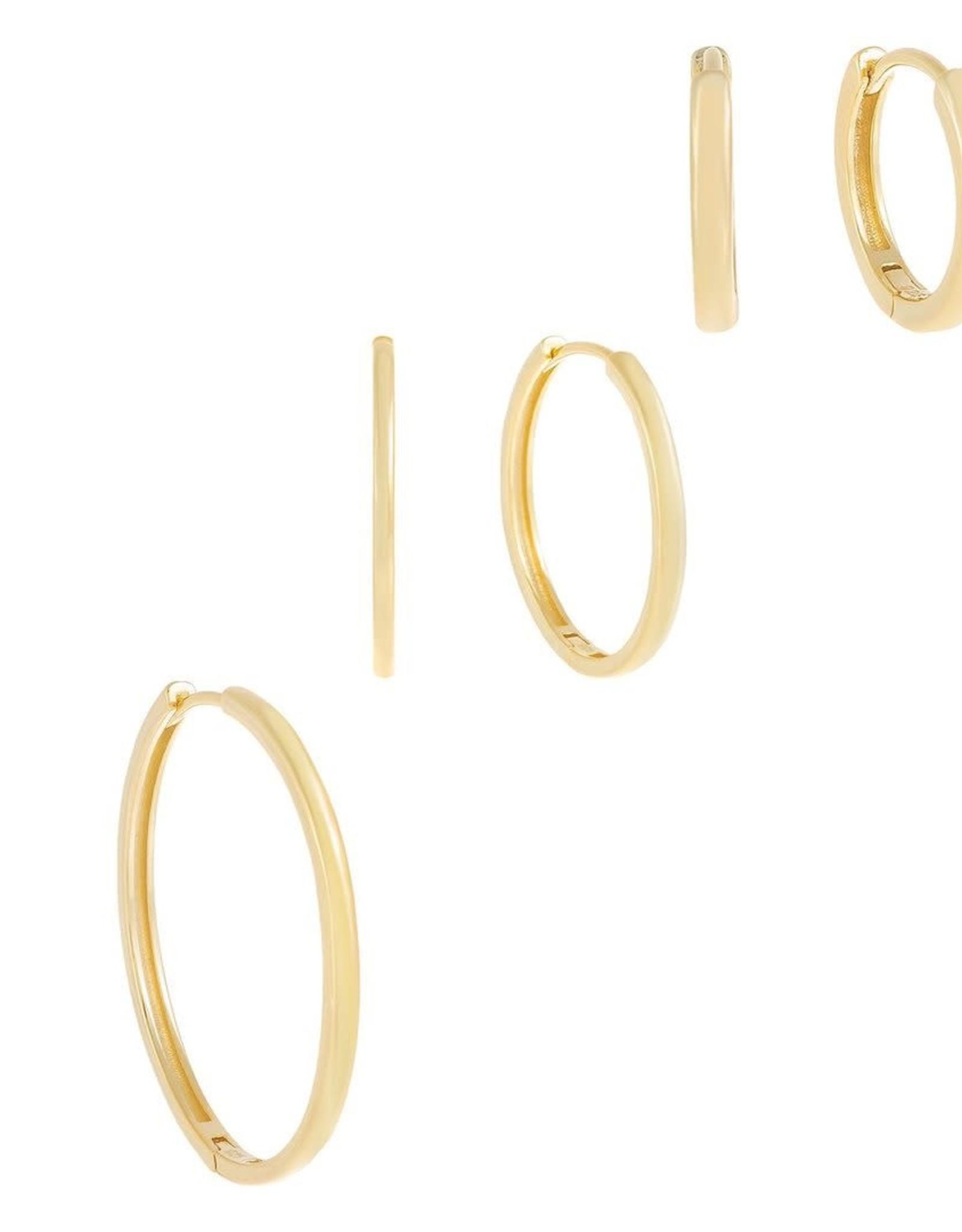 Adinas Thin Solid Hoop Earring Combo 3 Set