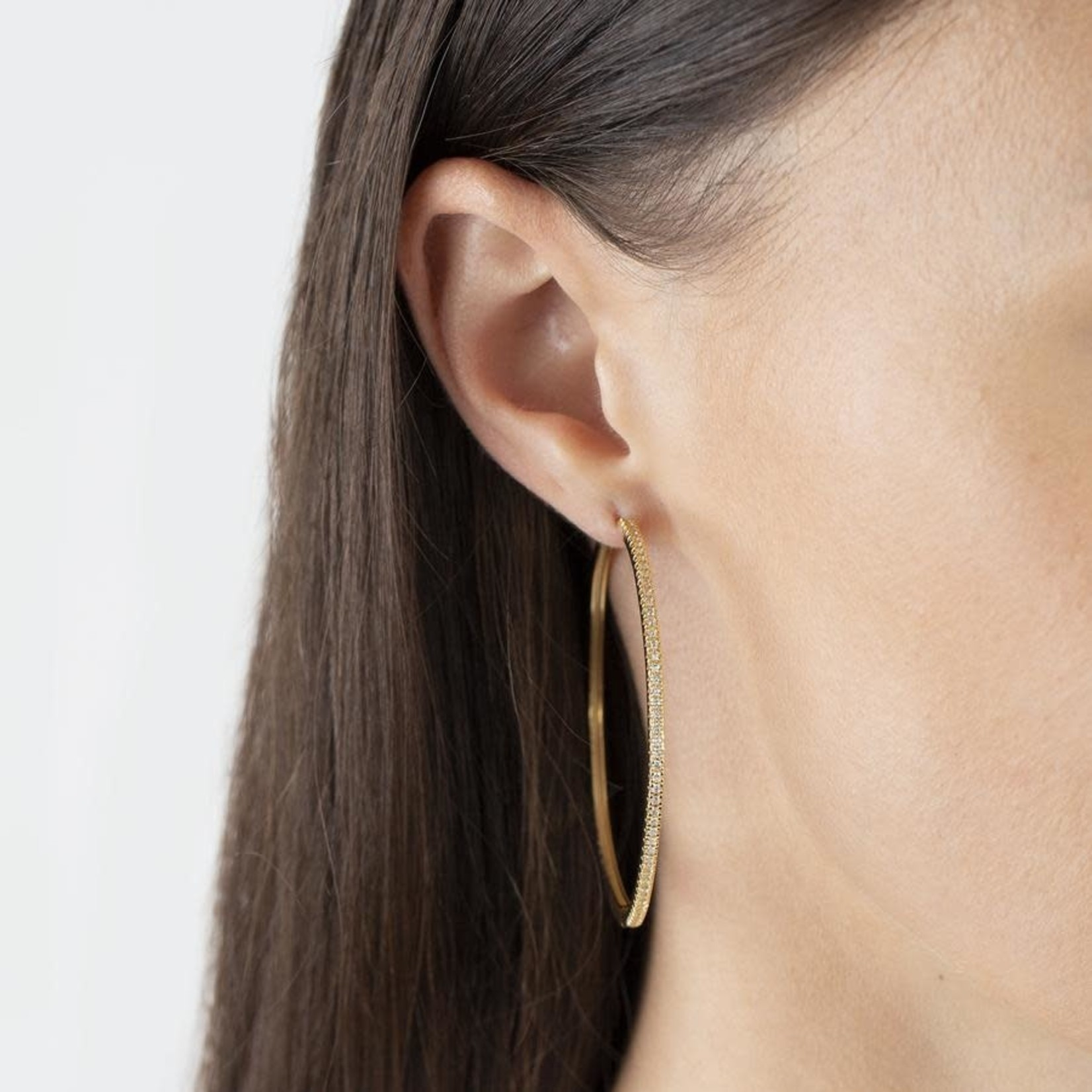 Adinas Large CZ Thin Hoop Earring