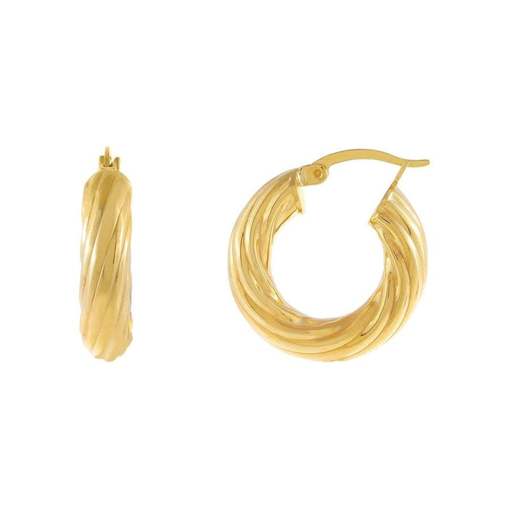 Adinas Chunky Hollow Twisted Hoop Earrings
