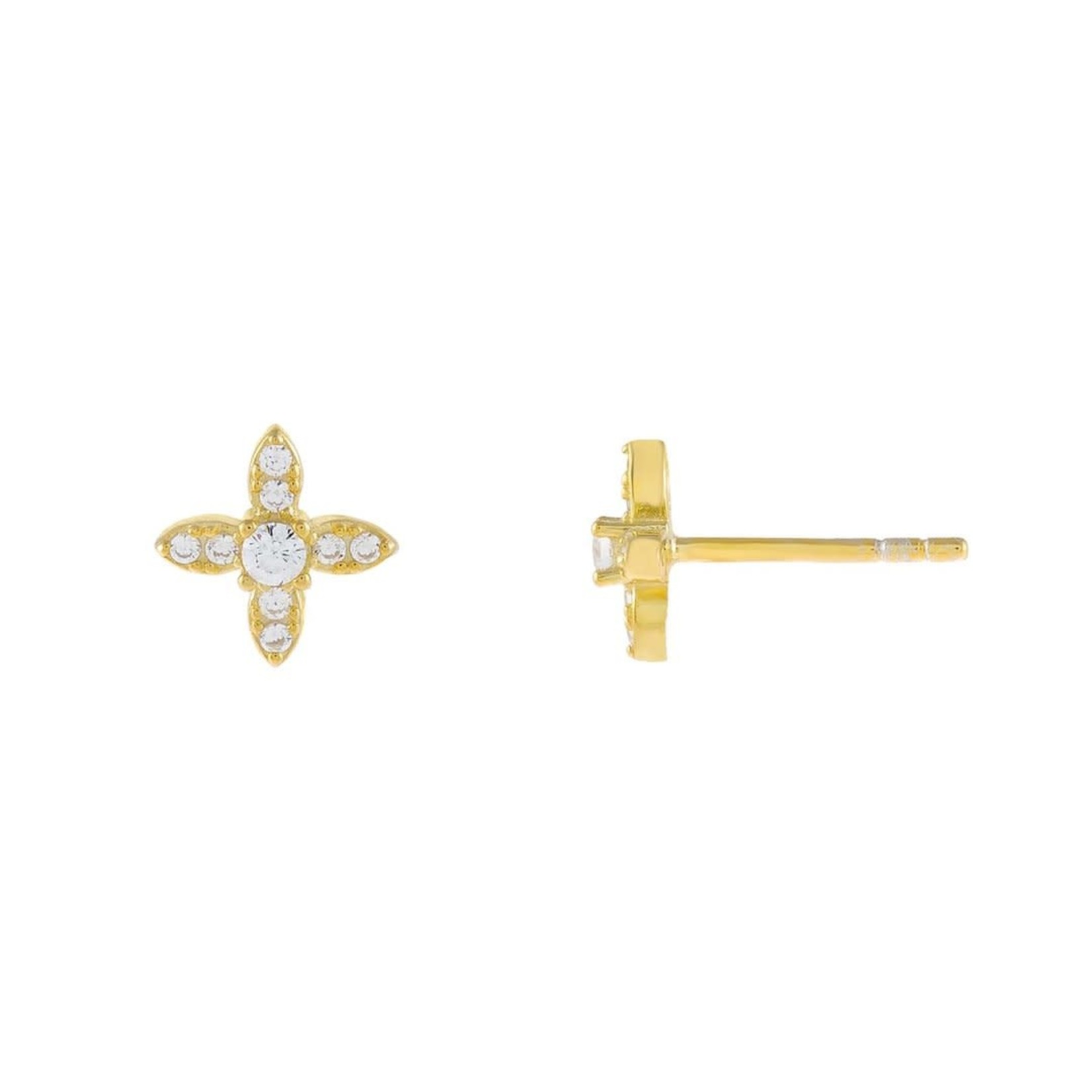 Adinas CZ Crystal 4 Petal Flower Stud Earrings