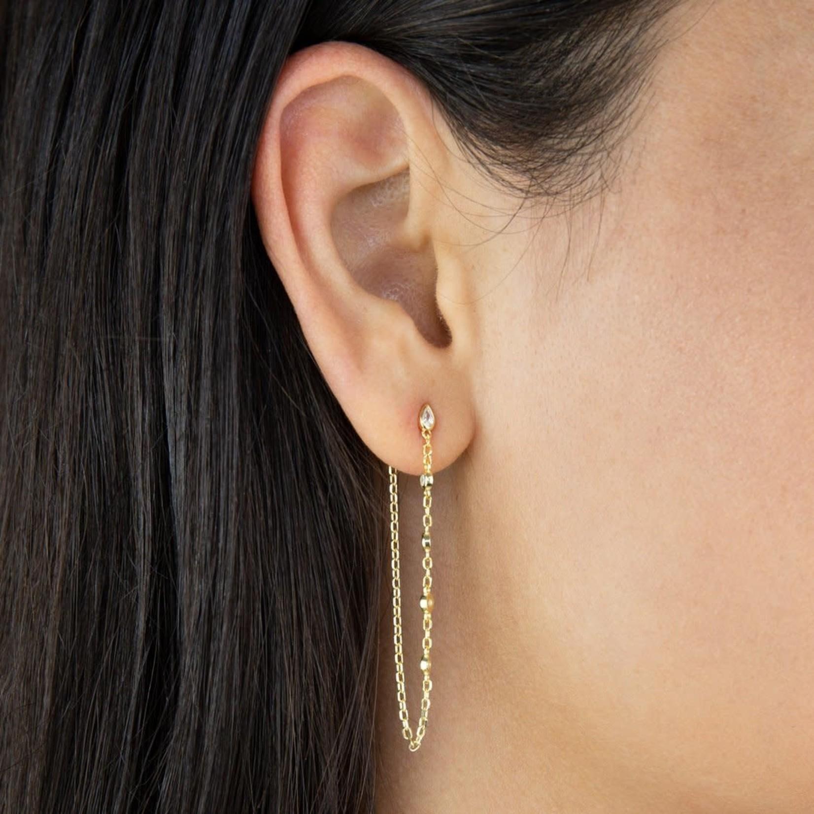 Adinas Bezel Chain Drop Stud Earrings