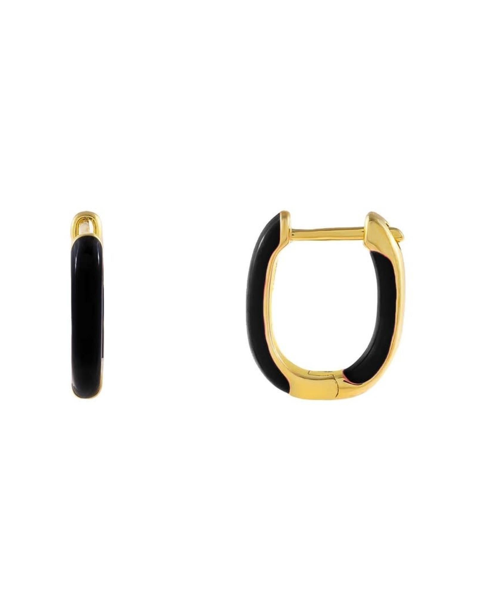 Adinas Enamel Colored Oval Huggie Earrings