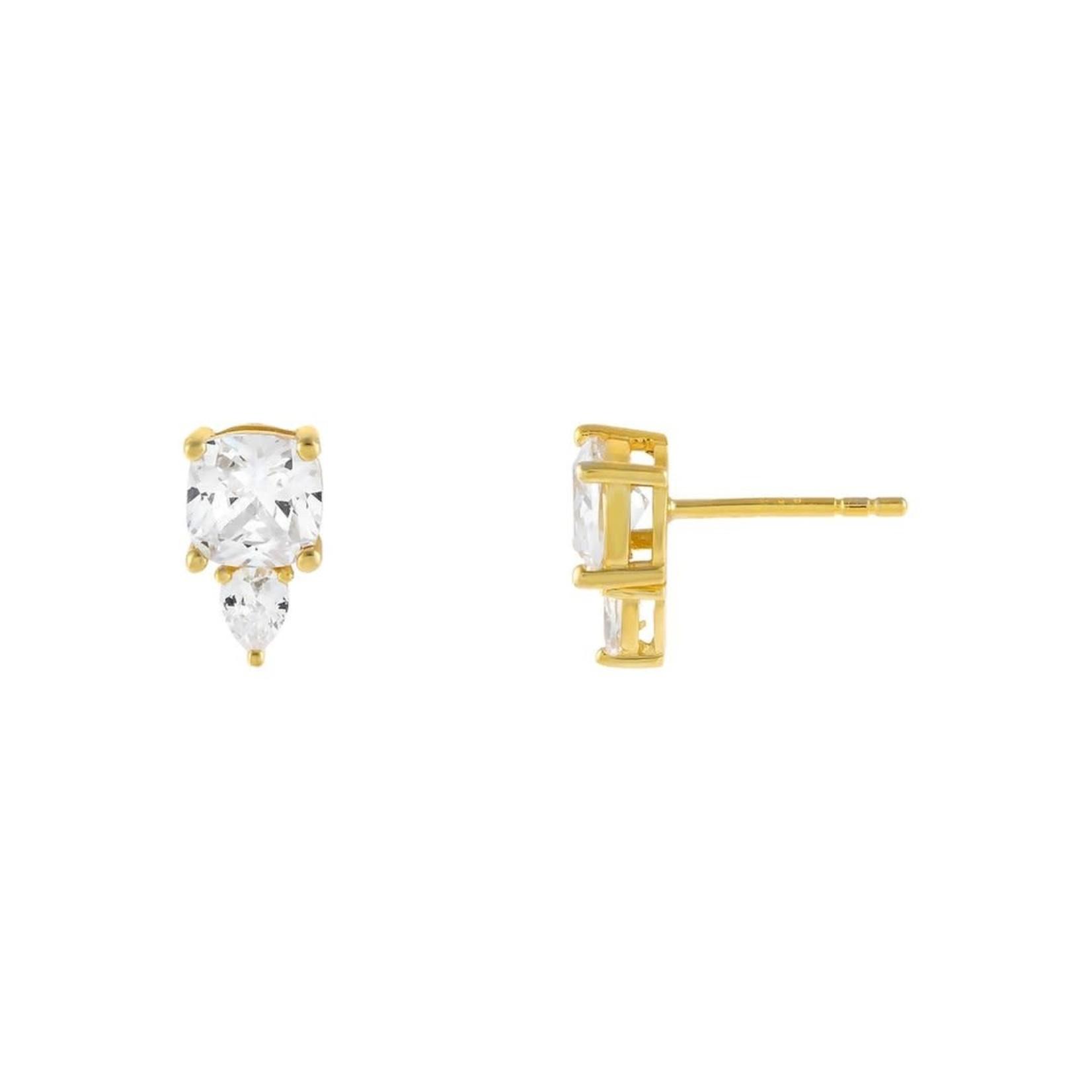 Adinas CZ Double Stone Stud Earrings