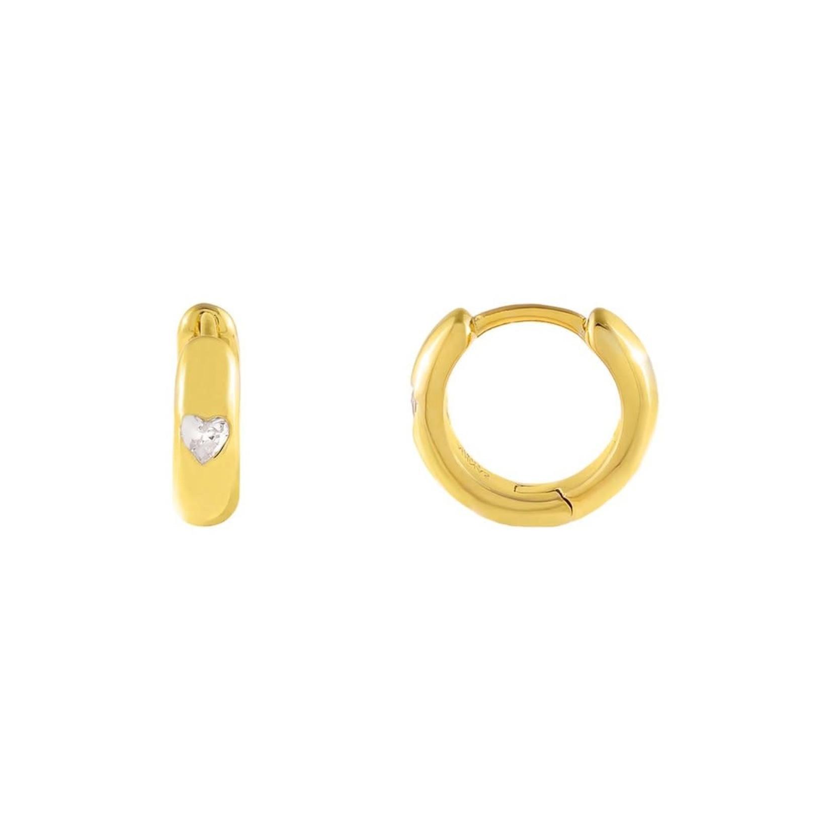 Adinas CZ Mini Heart Huggie Earrings