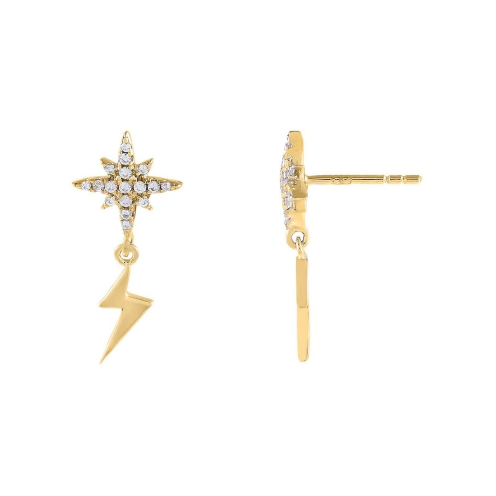 Adinas Pavé Starburst X Lightning Stud Earrings