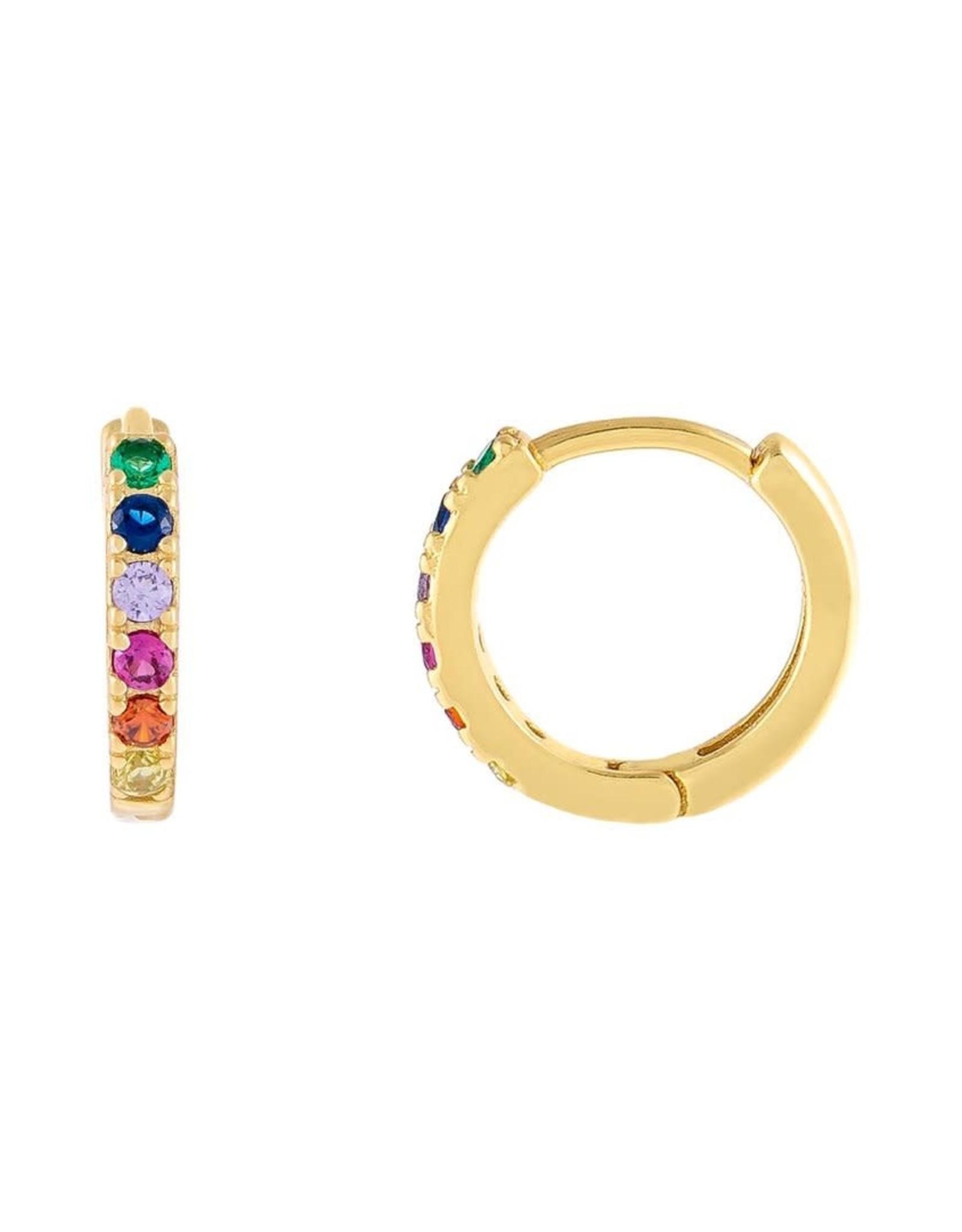 Adinas CZ Mini Rainbow Huggie Earrings