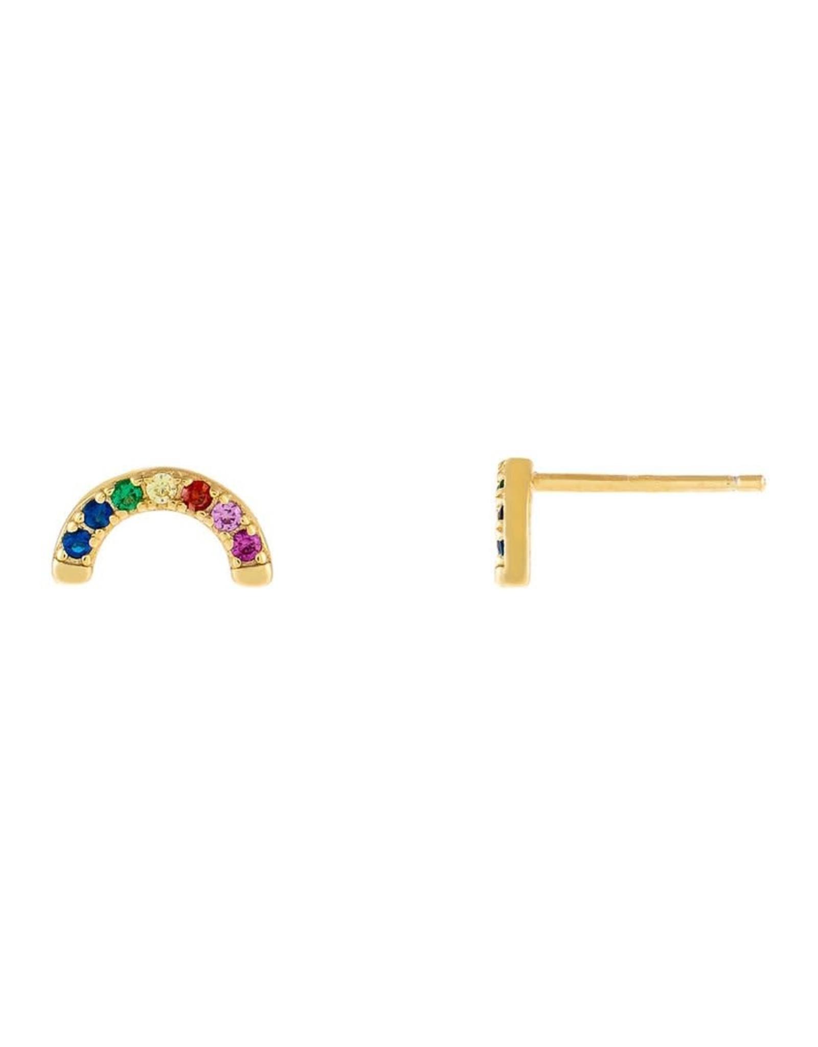 Adinas CZ Rainbow Half Circle Stud Earrings