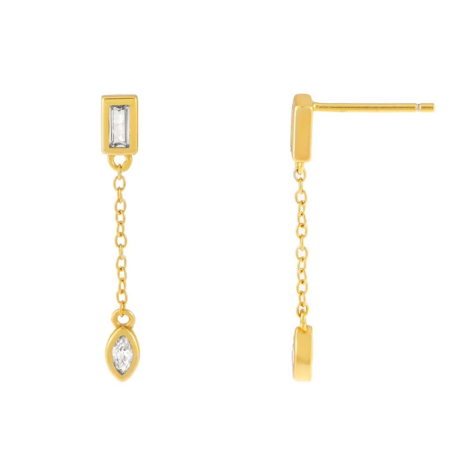 Adinas CZ Baguette X Teardrop Chain Drop Stud Earrings