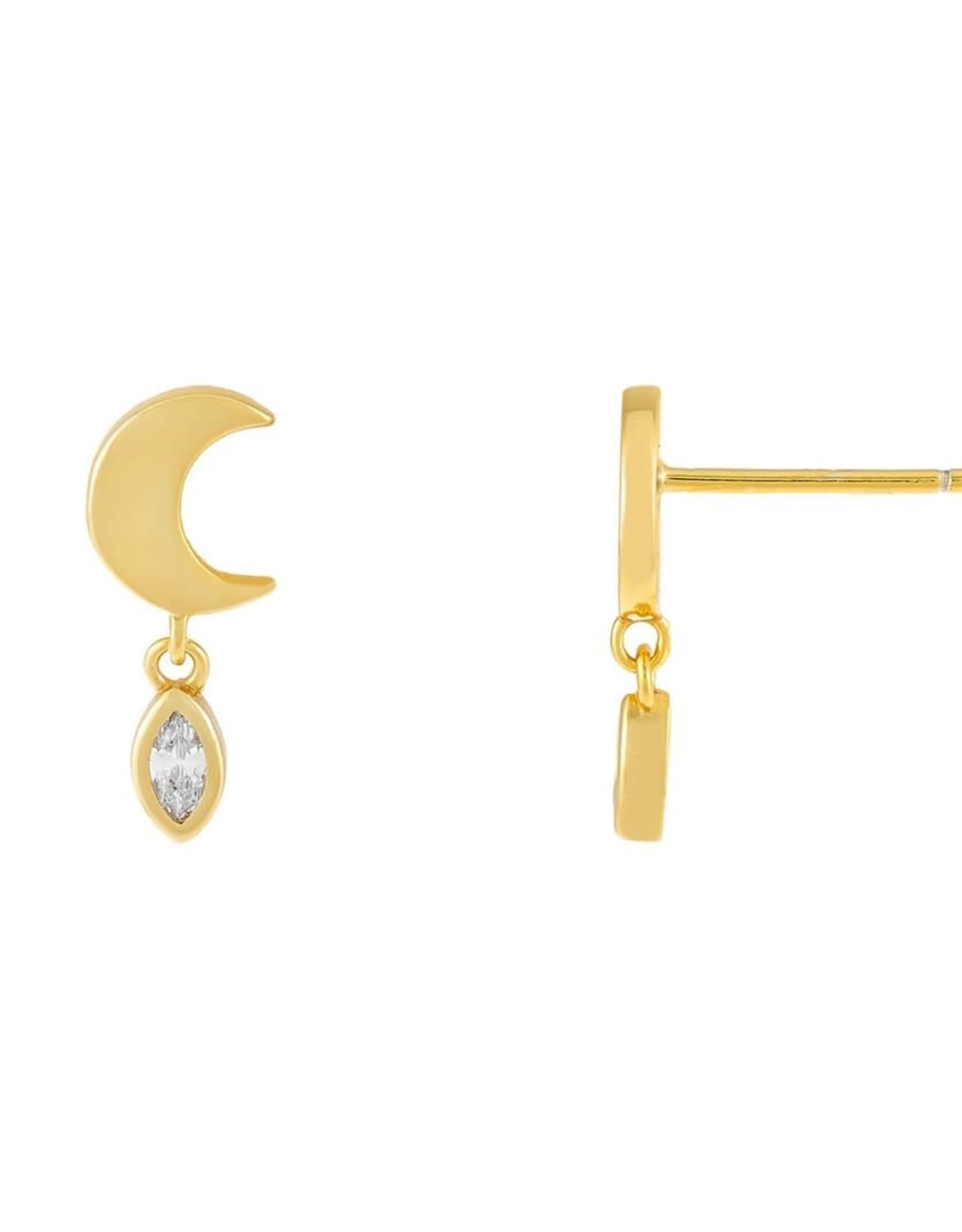 Adinas CZ Teardrop Moon Stud Earrings