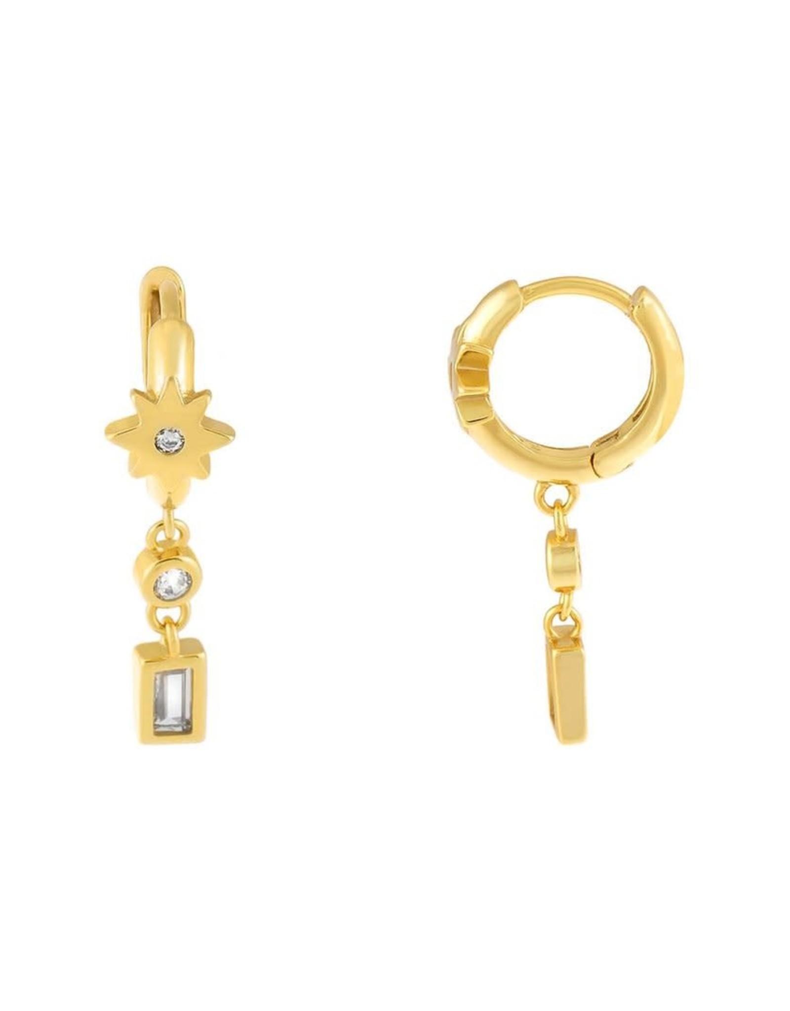 Adinas CZ Starburst X Baguette Huggie Earrings