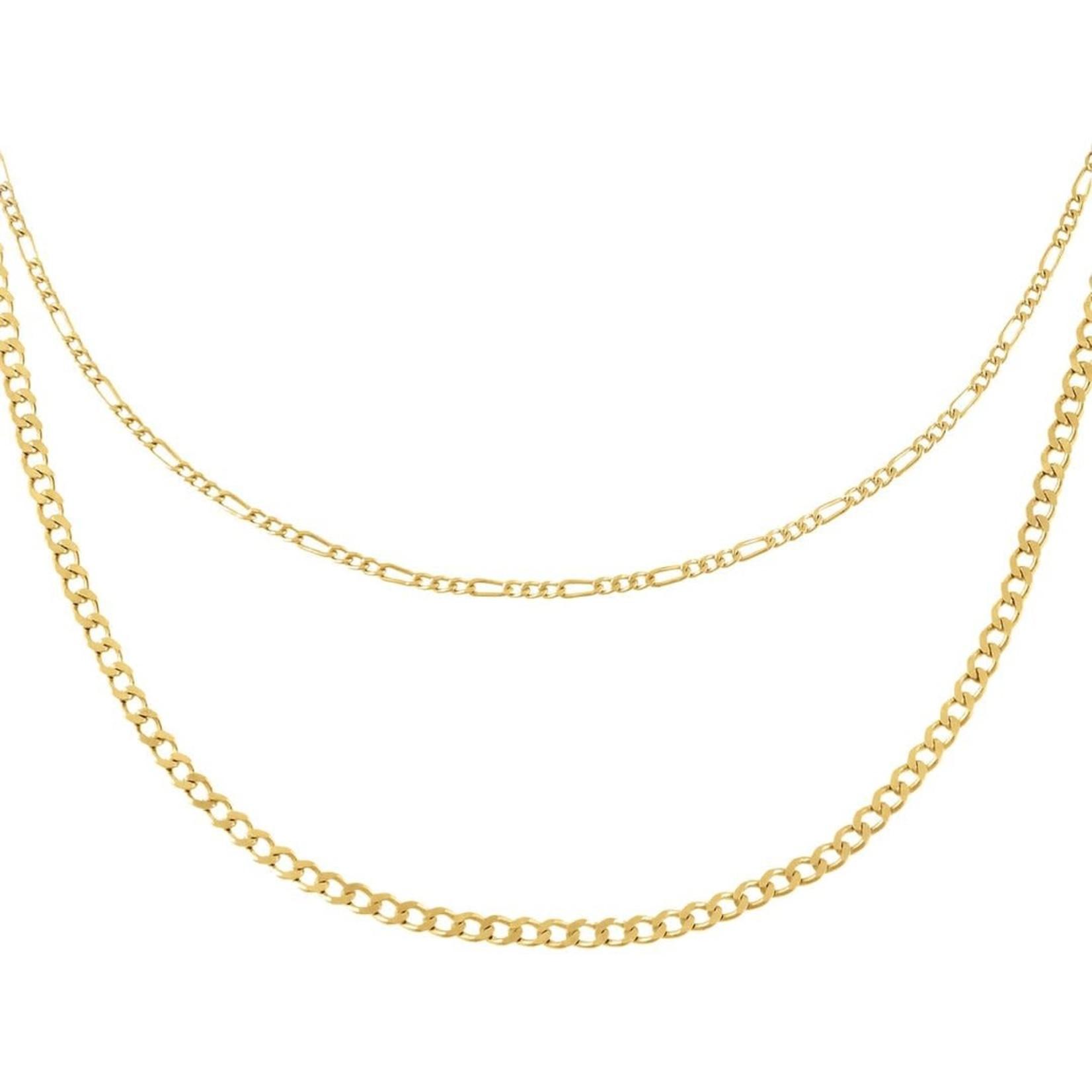 Adinas Double Chain Figaro x Cuban Necklace