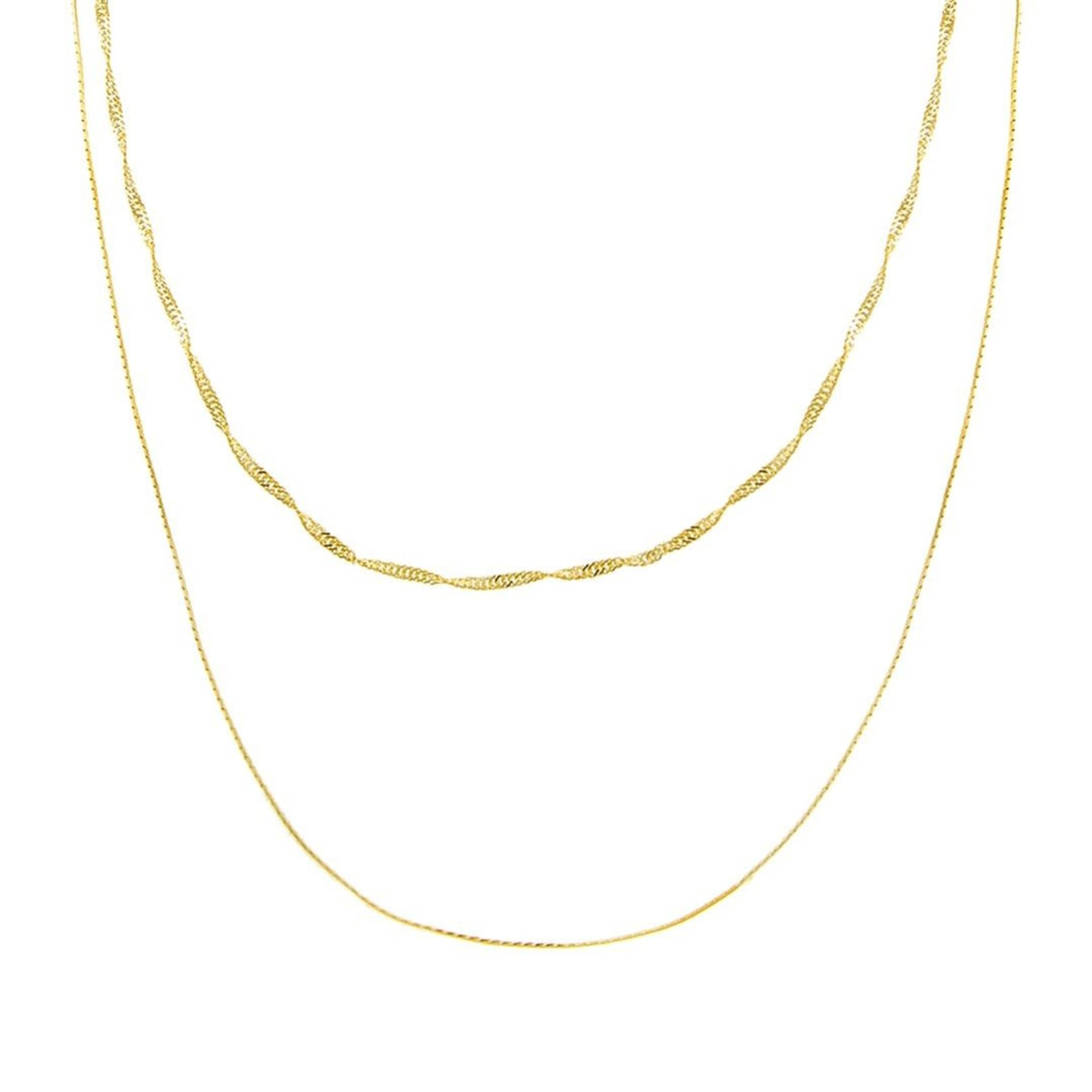Adinas Double Chain Singapore X Snake Necklace