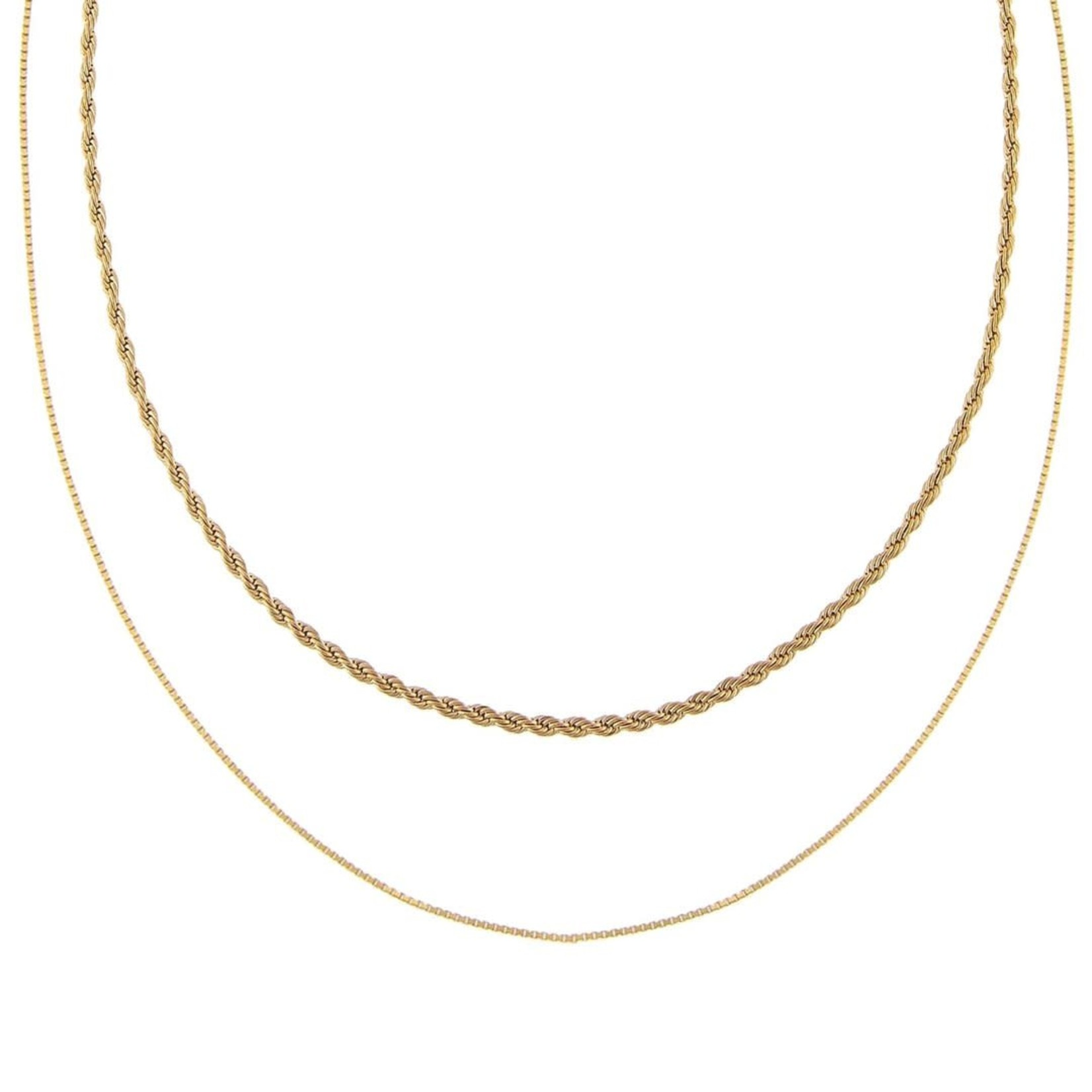 Adinas Double Chain Rope X Box Necklace