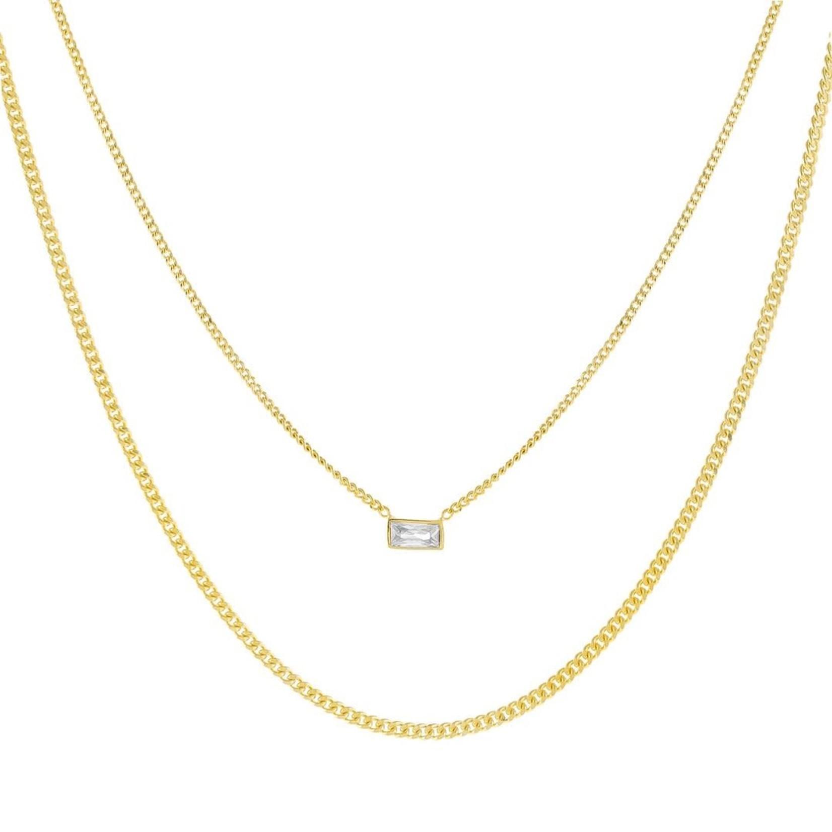 Adinas CZ Baguette Double Chain Necklace