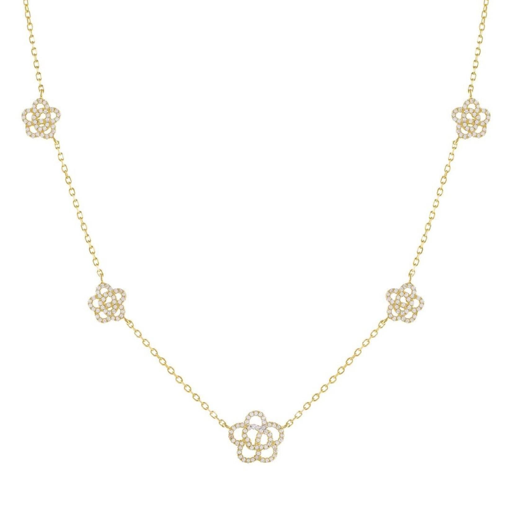 Adinas CZ 5 Rose Flower Necklace