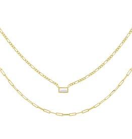 Adinas CZ Baguette Figaro X Oval Link Necklace