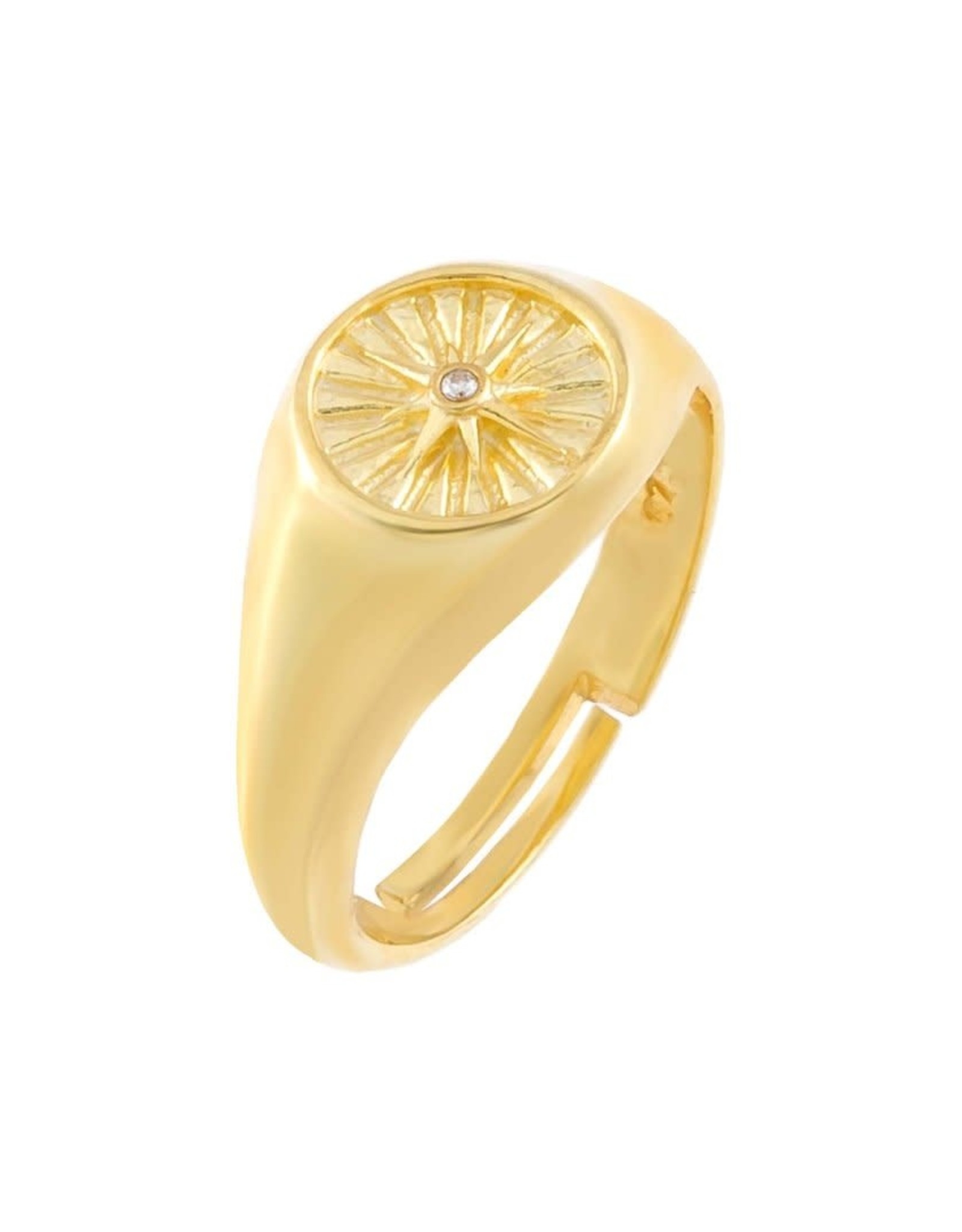 Adinas CZ Starburst Adjustable Signet Ring