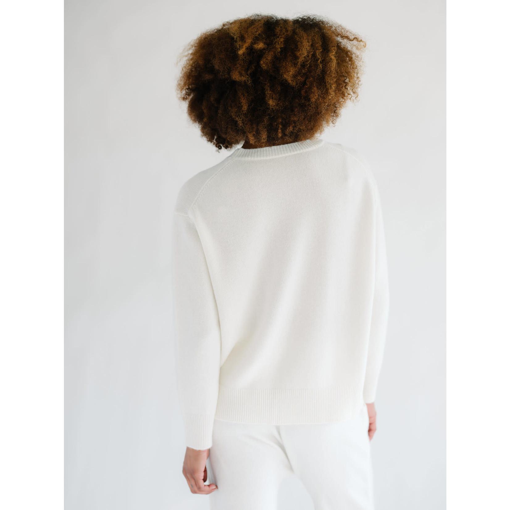 Zenzee Cashmere Ivory Crew Neck Sweater