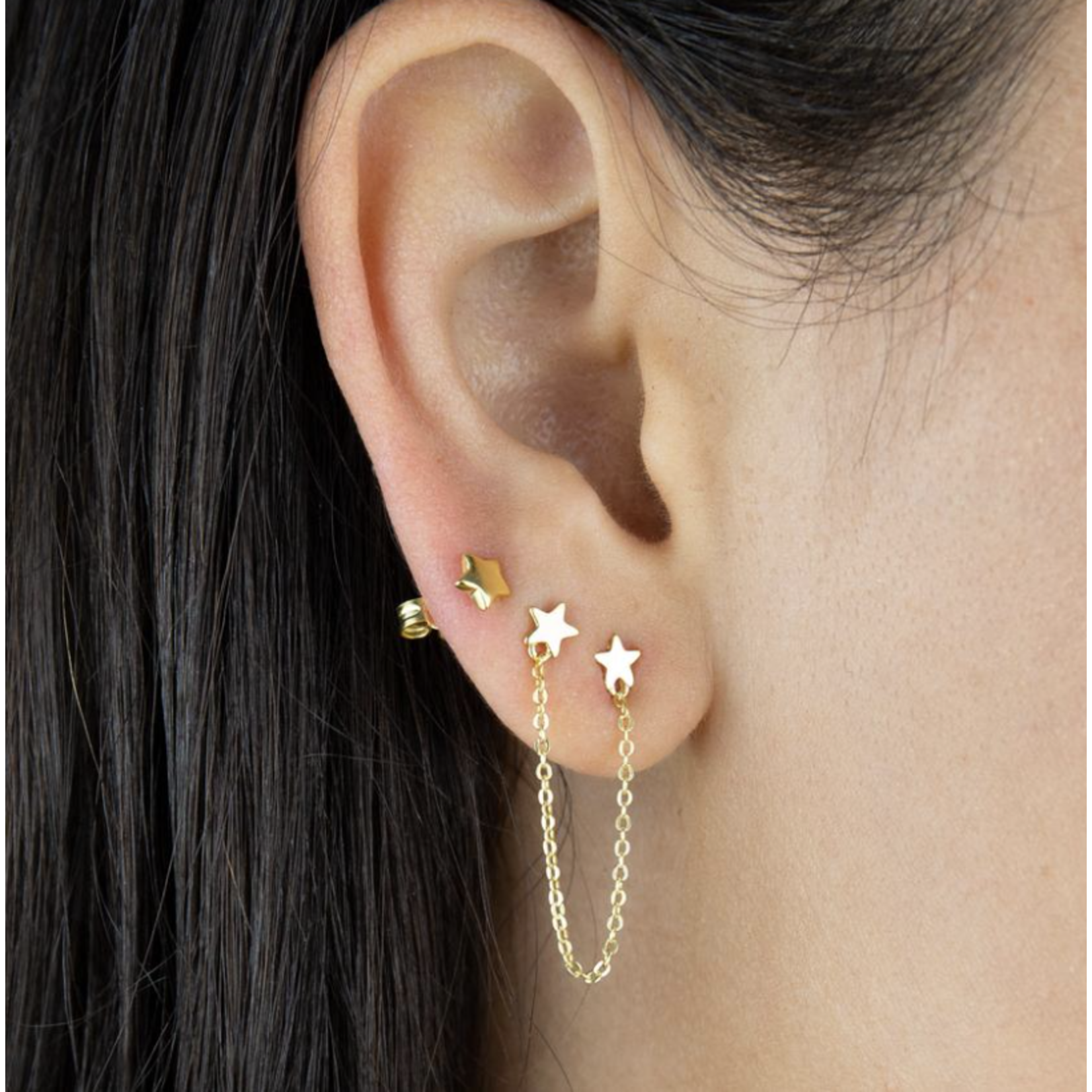 Adinas Double Star Chain Stud Earring