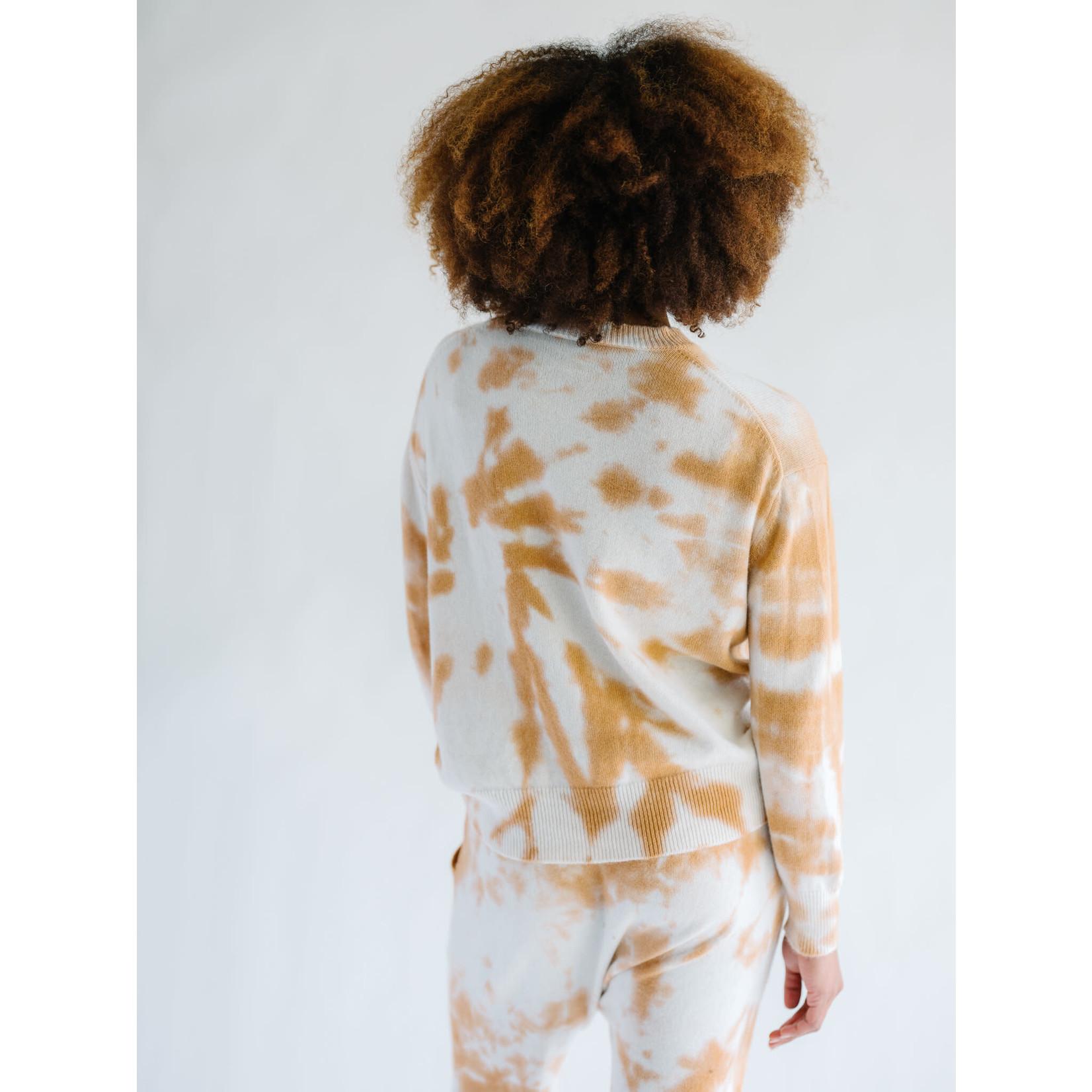 Zenzee Cashmere Copper Tie Dye Crew Neck Sweater