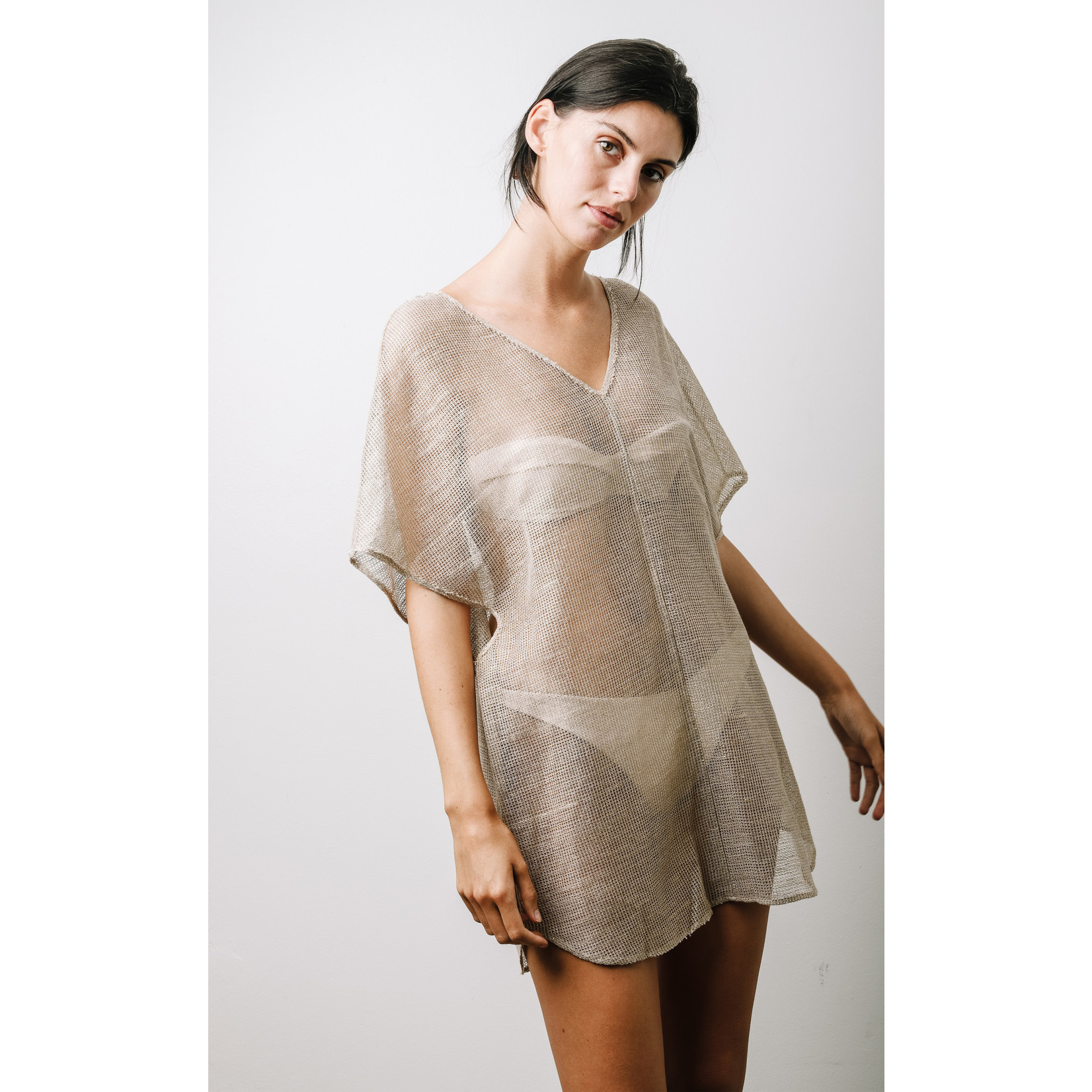 Saint Holiday Overlay Cotton Mesh Gold Wash Dress O/S