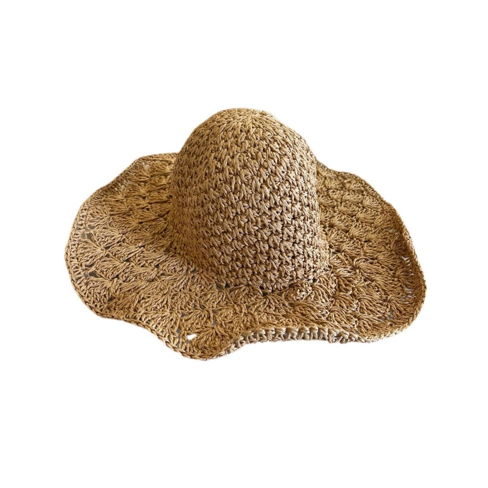 Wyld Blue Raffia Flopper Boater Hat