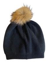 Wyld Blue Black Knit Beanie w/ Pom Pom