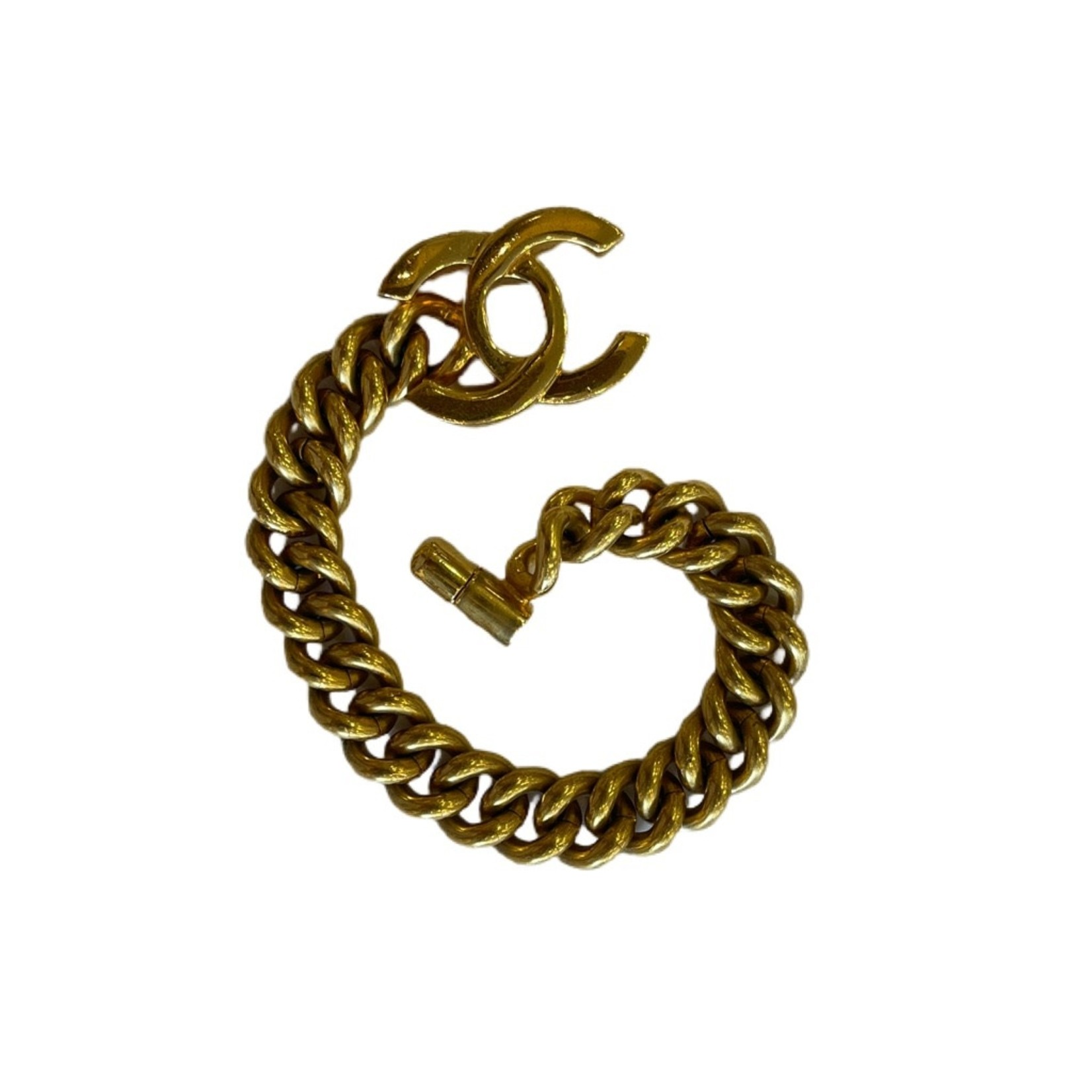 Wyld Blue Vintage Gold Chanel Turnlock Bracelet Medium
