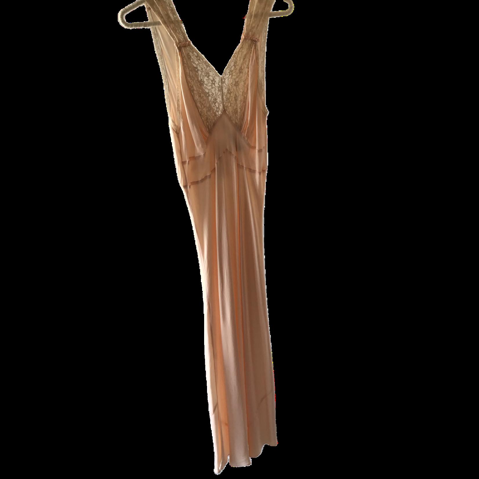 1940s Blush Pink Bias Cut Rayon & Lace Slip Dress SL9ON33730