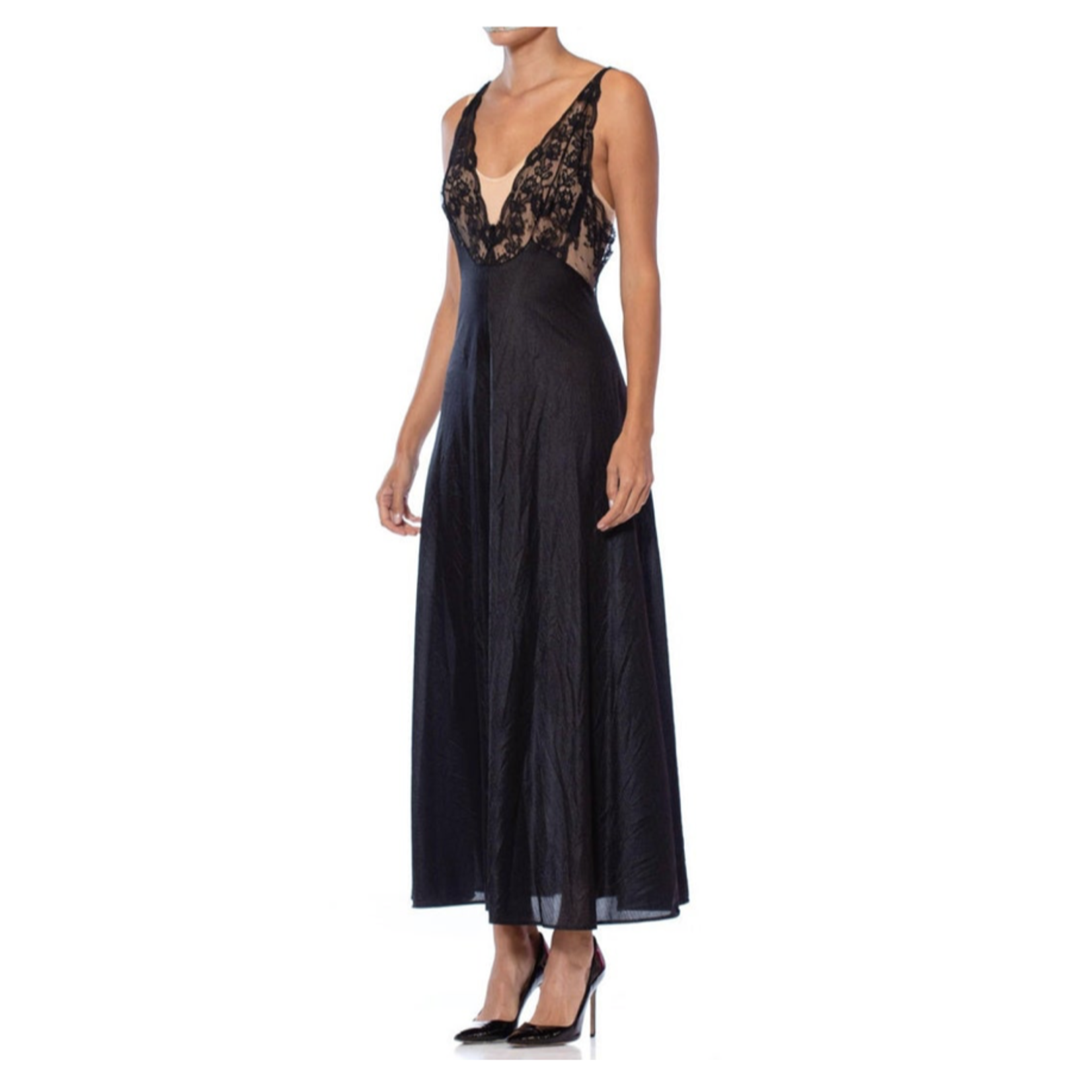 1970s Black Nylon Tricot Jersey Lace Trimmed Negligee SL9ON41946