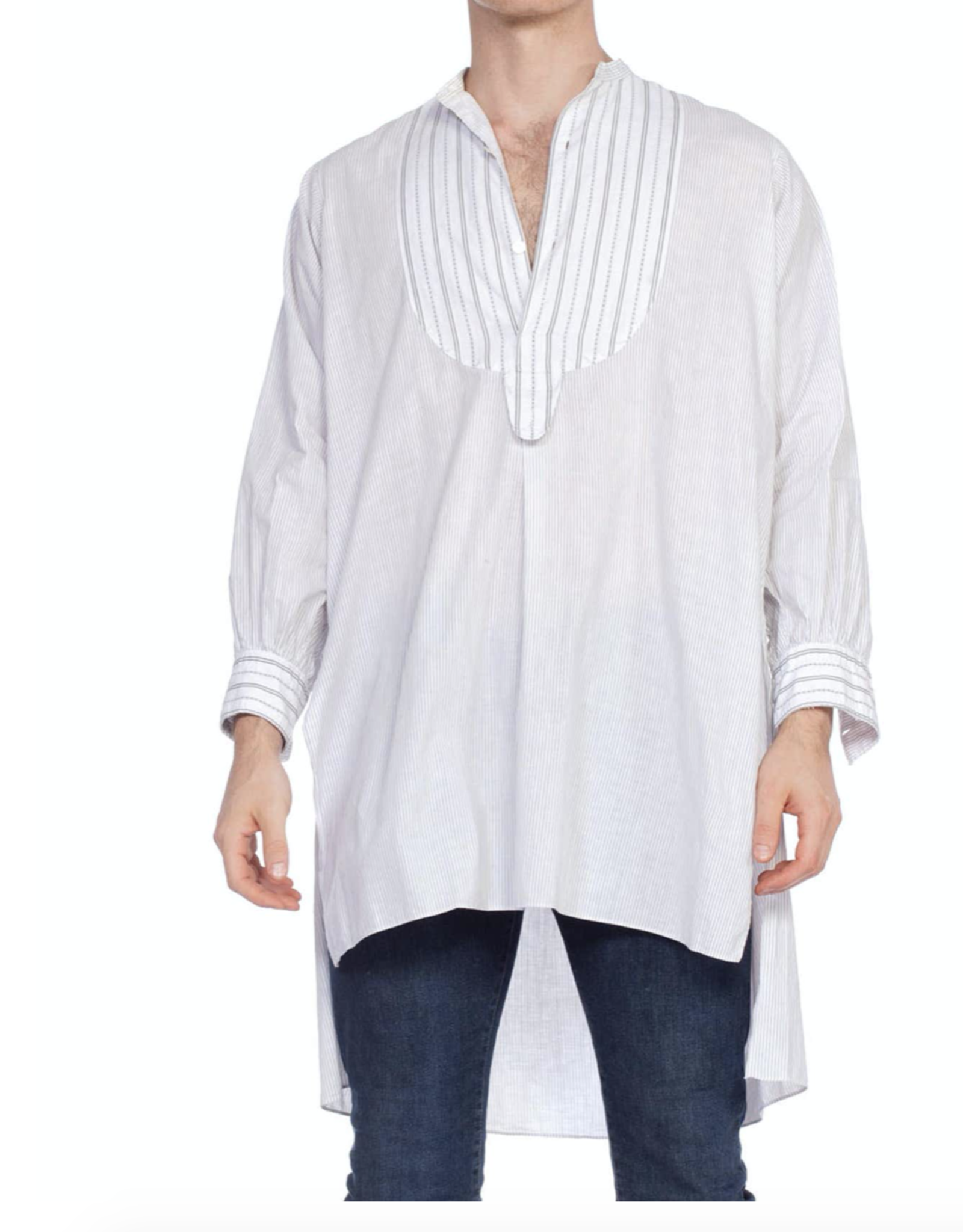 Victorian Black & White Organic Cotton Mens Antique Bib Front Pinstripe Shirt MENSS8ON0557