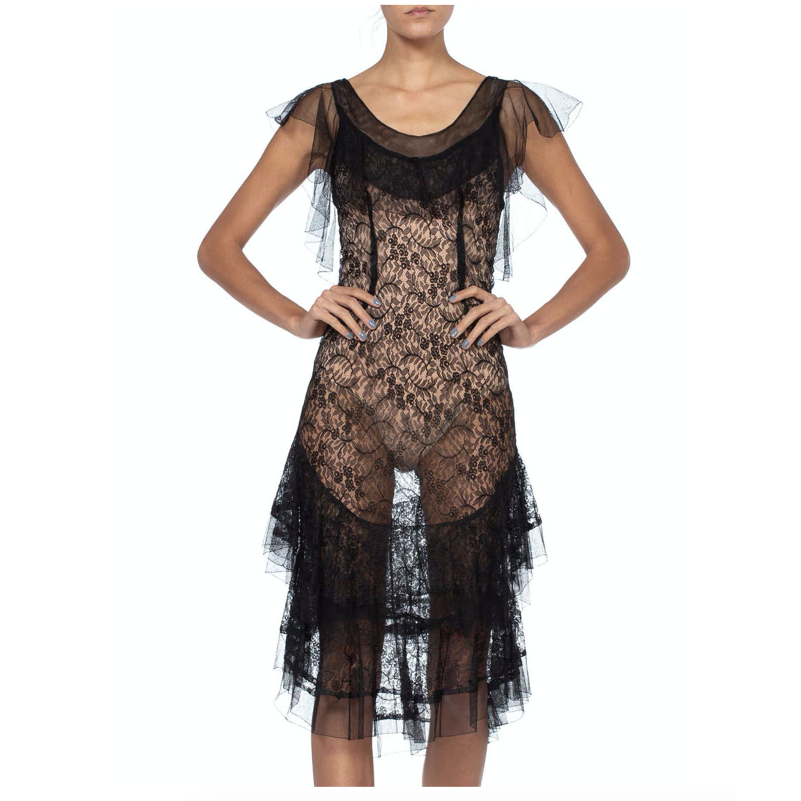Wyld Blue Vintage 1930s Black Sheer Silk Chantilly Lace Cocktail Dress with Tulle Ruffles & a little stretch LD308ON0688