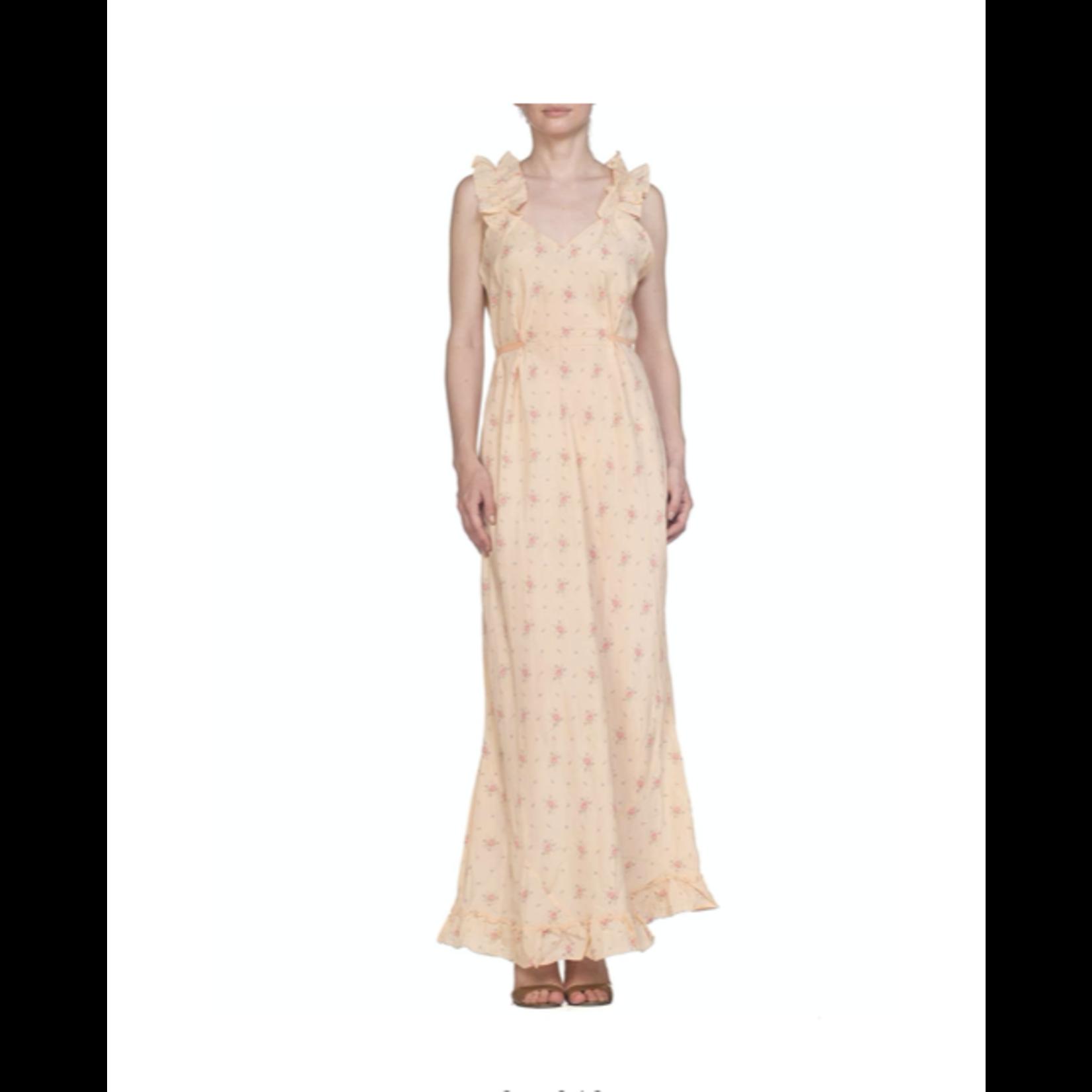 1940s Peach Bias Cut Silk Floral  Slip Dress with Low Ruffle Back & Waist Ties SL6ON0627