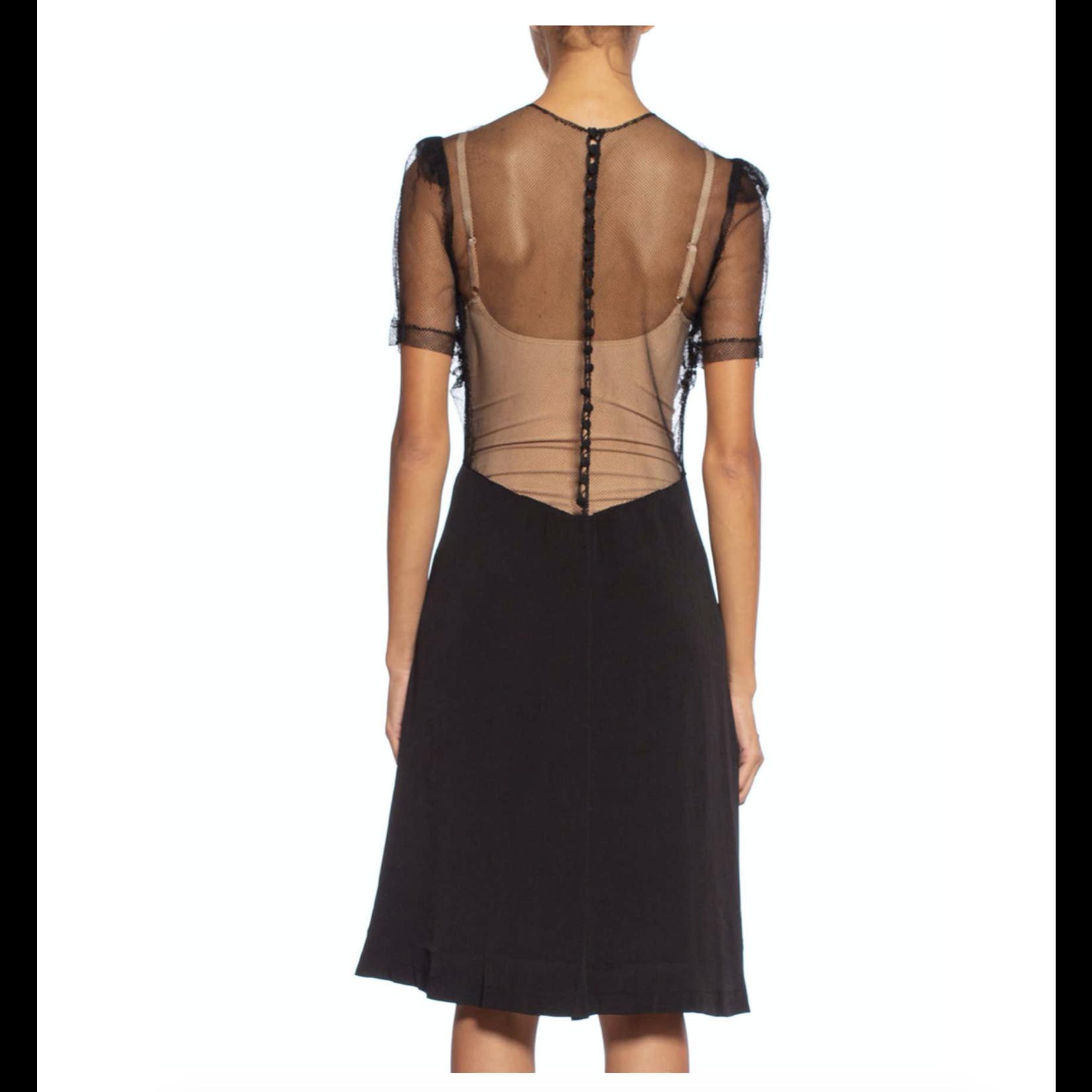 Wyld Blue Vintage 1940s Black Silk Bias & Net Dress 45DD8ON0730