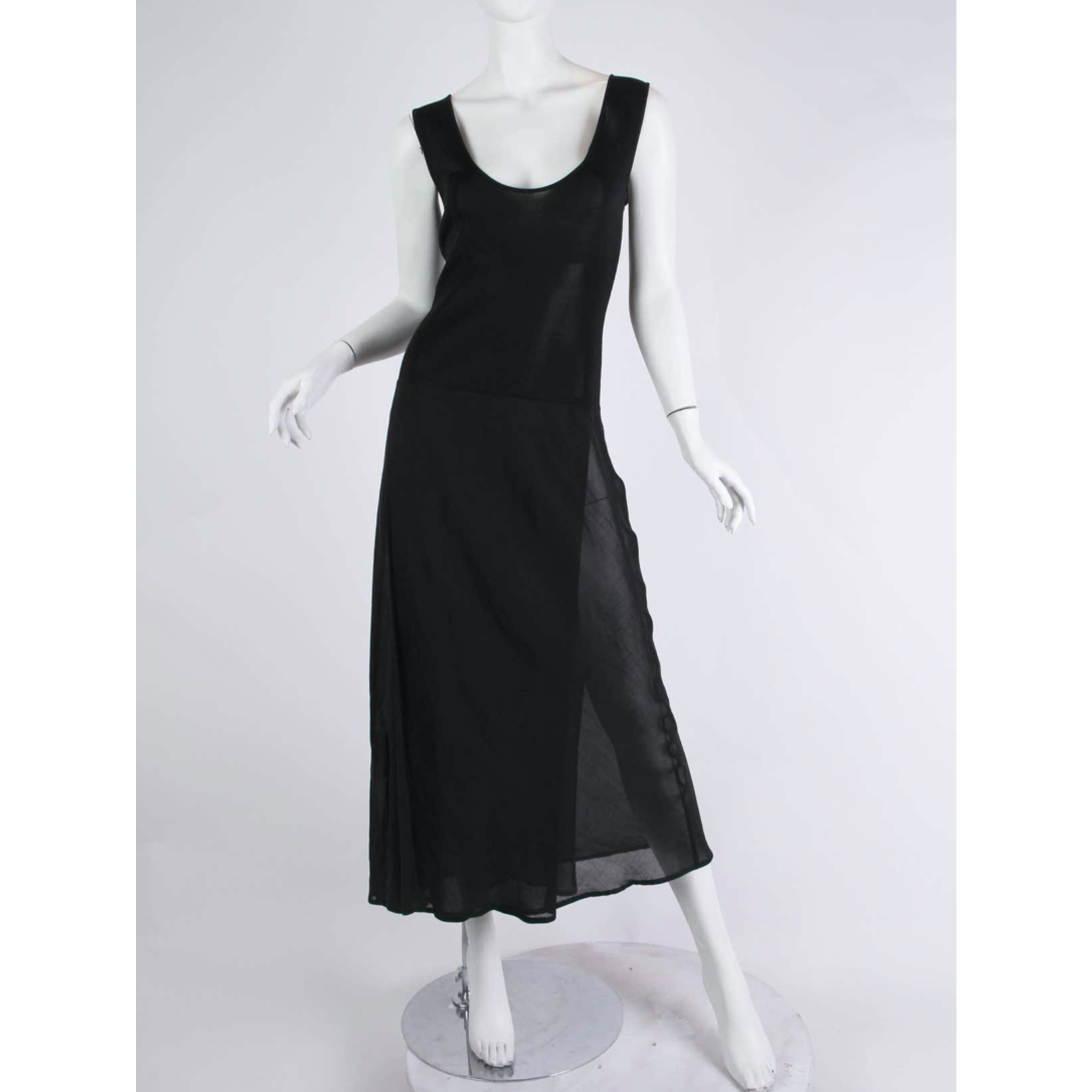 1990s Black Viscose Knit & Bias Chiffon Minimalist Dress DSDD3ON83