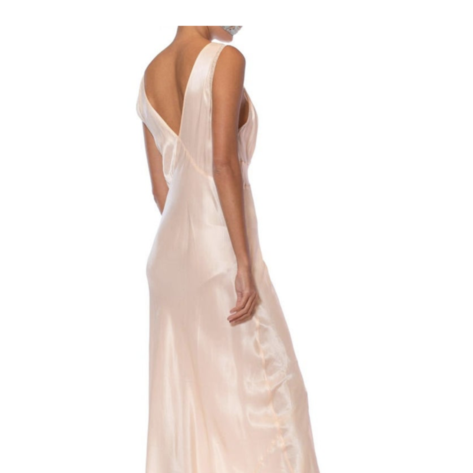 1940s White & Pink Rayon Bias Cut Floral Slip Dress Negligee SL9ON43288